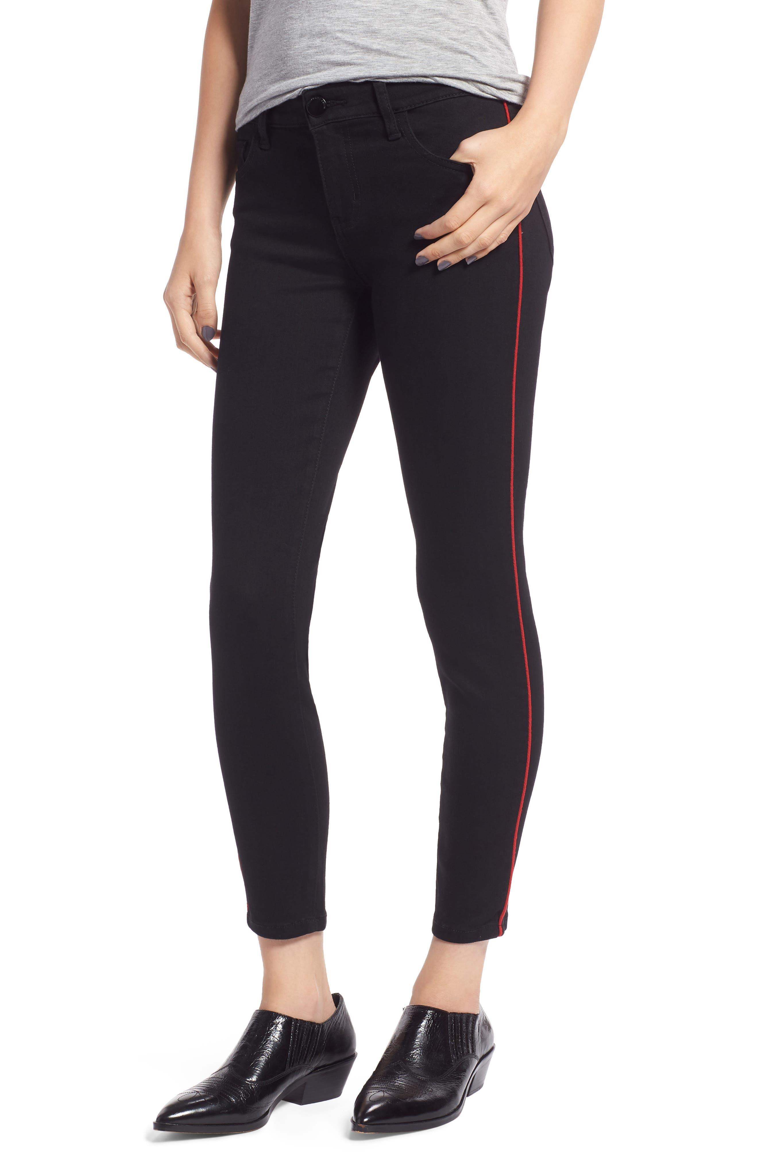 PROSPERITY DENIM, Side Stripe Ankle Skinny Jeans, Main thumbnail 1, color, BLACK