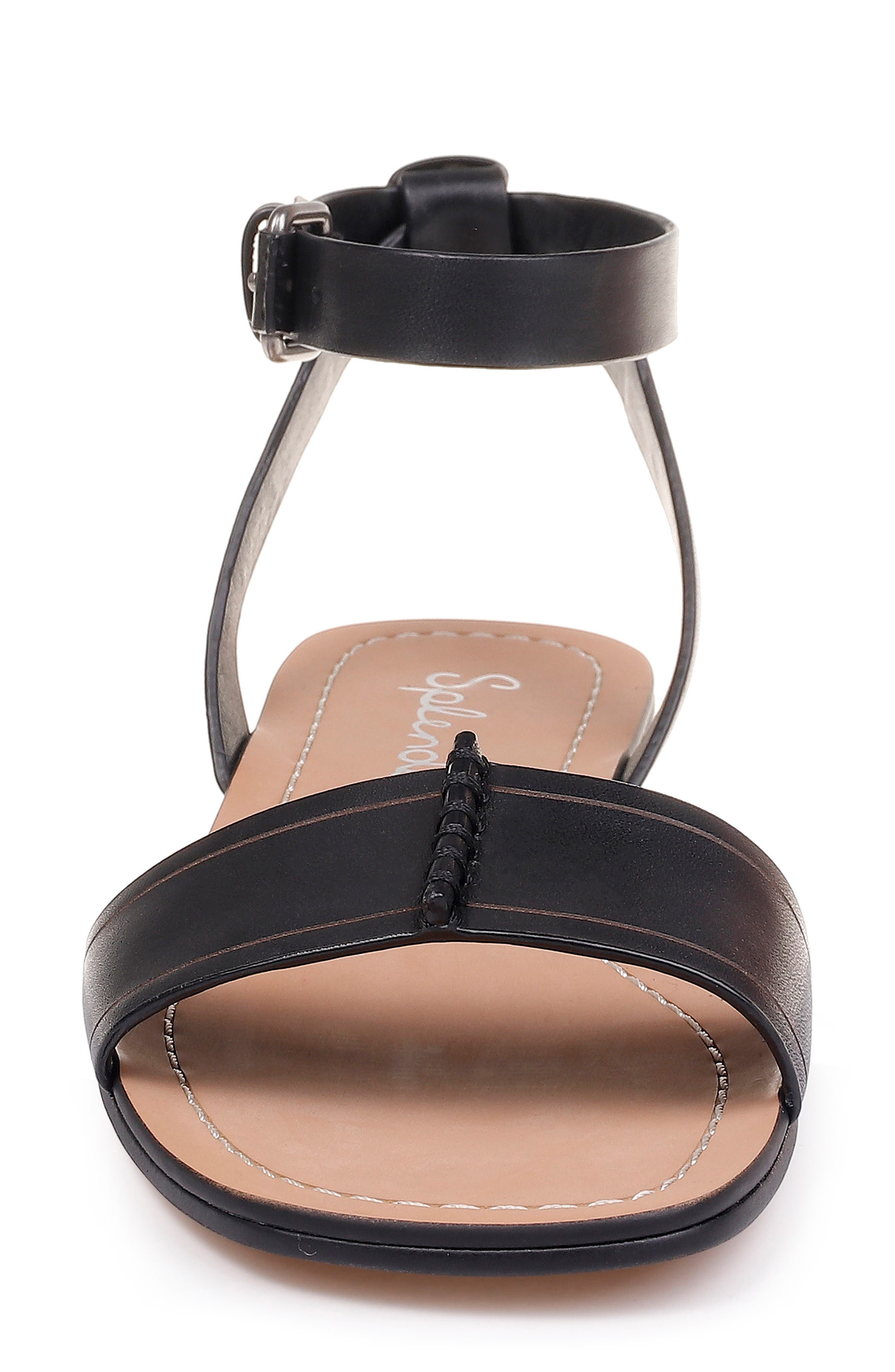 SPLENDID, Tabitha Ankle Strap Flat Sandal, Alternate thumbnail 4, color, BLACK LEATHER