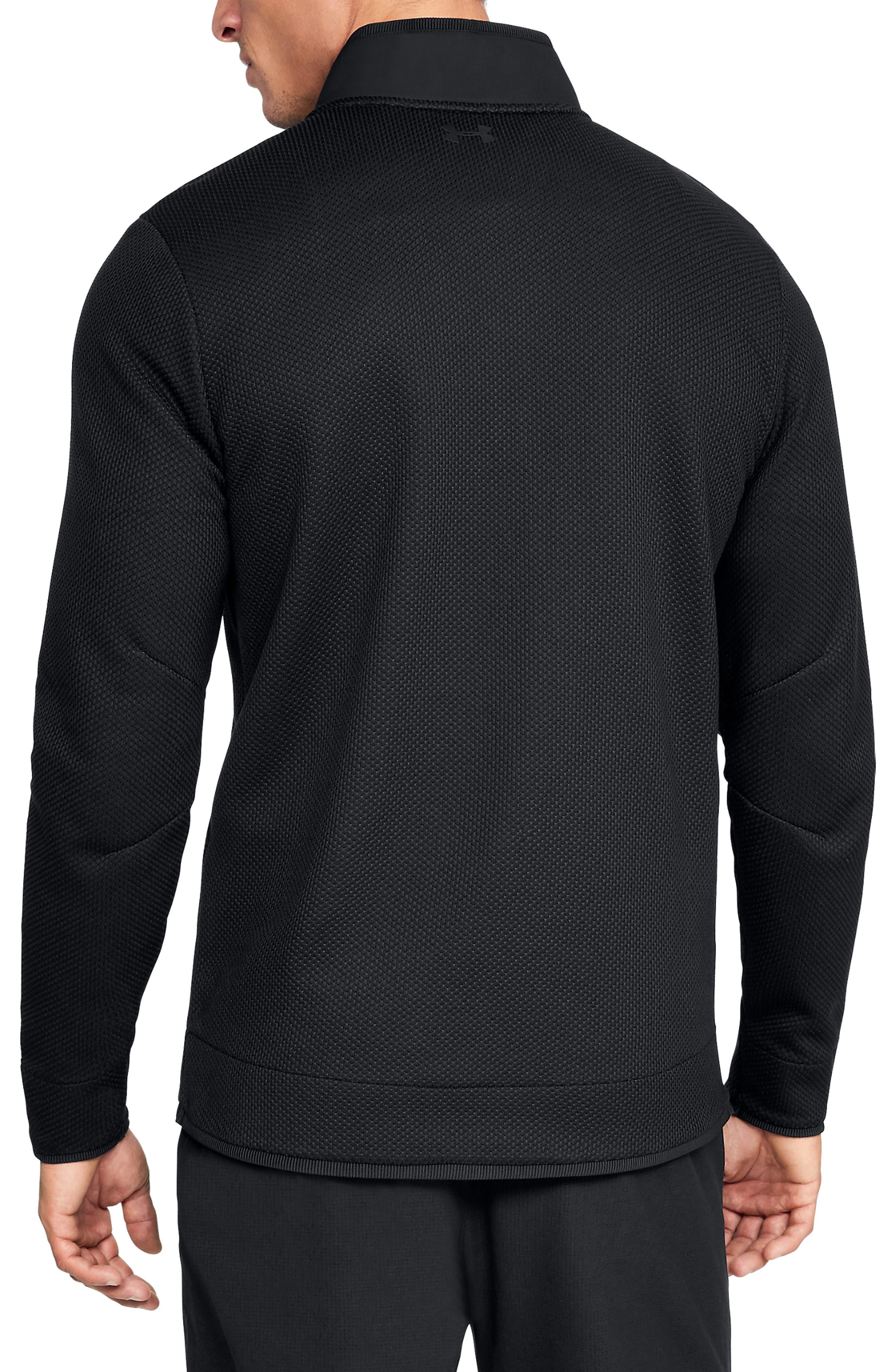 UNDER ARMOUR, Storm SweaterFleece Snap Mock Neck Pullover, Alternate thumbnail 2, color, BLACK/ BLACK/ BLACK