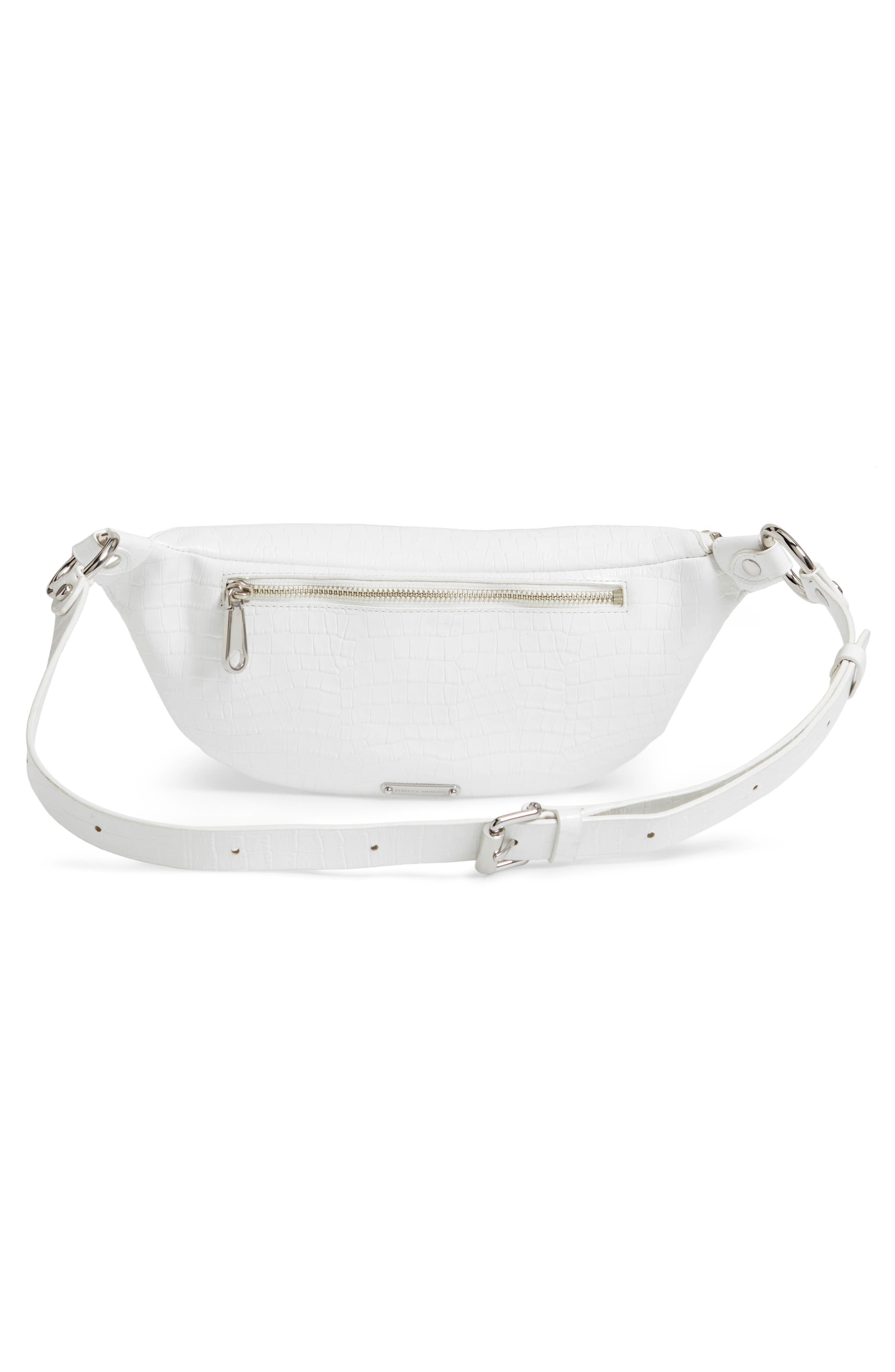 REBECCA MINKOFF, Bree Croc Embossed Leather Belt Bag, Alternate thumbnail 5, color, OPTIC WHITE
