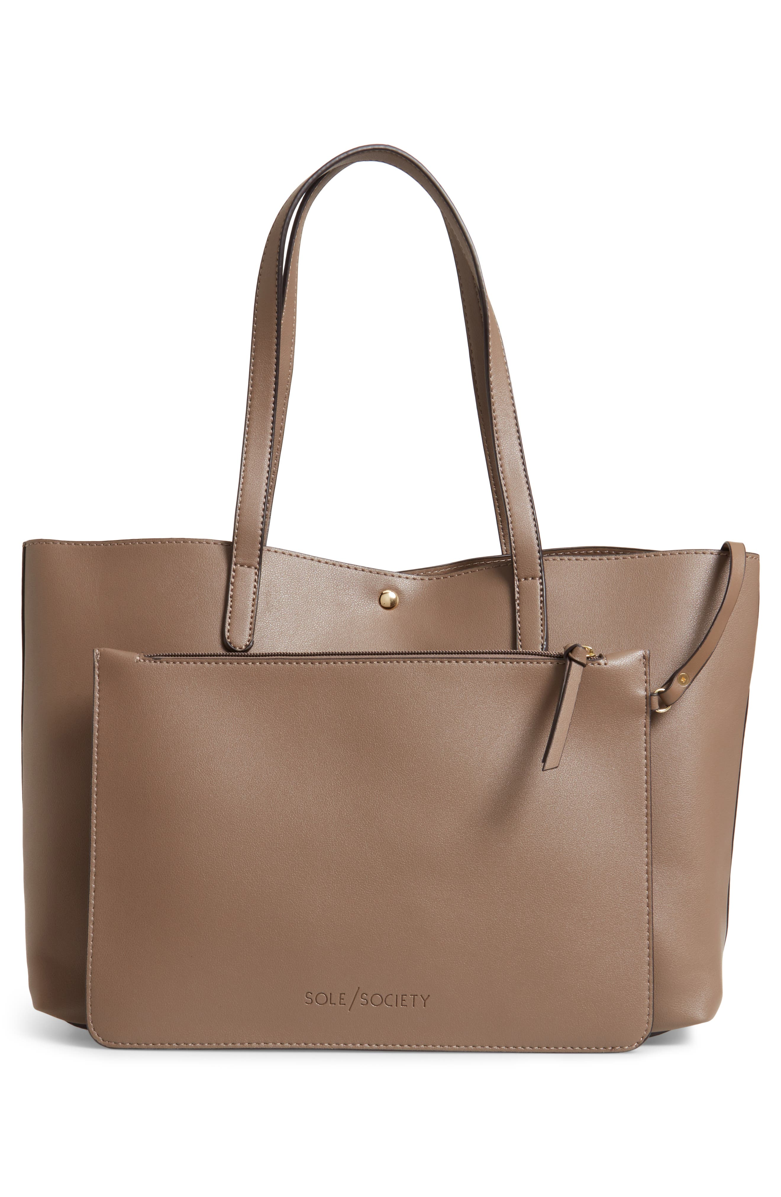 SOLE SOCIETY, Zeda Faux Leather Tote, Alternate thumbnail 4, color, TAUPE