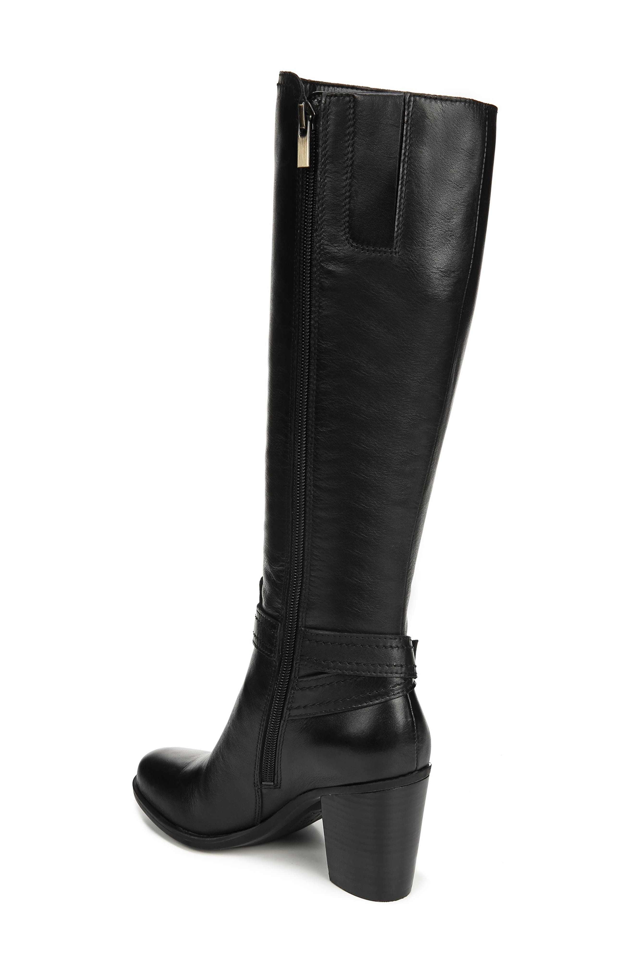 NATURALIZER, Kelsey Knee High Boot, Alternate thumbnail 2, color, BLACK LEATHER