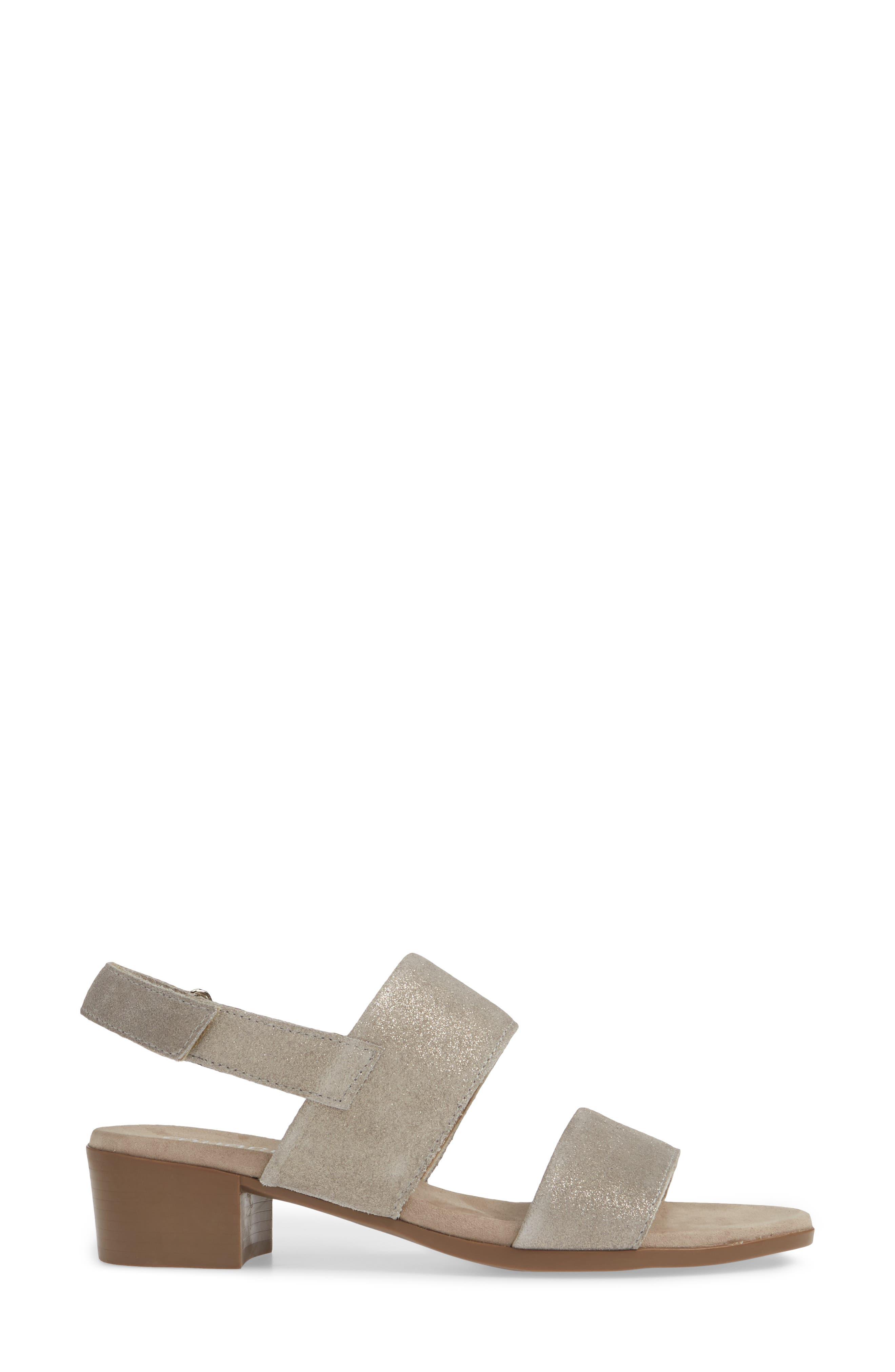 MUNRO, Kristal Sandal, Alternate thumbnail 3, color, CHAMPAGNE SHIMMER SUEDE