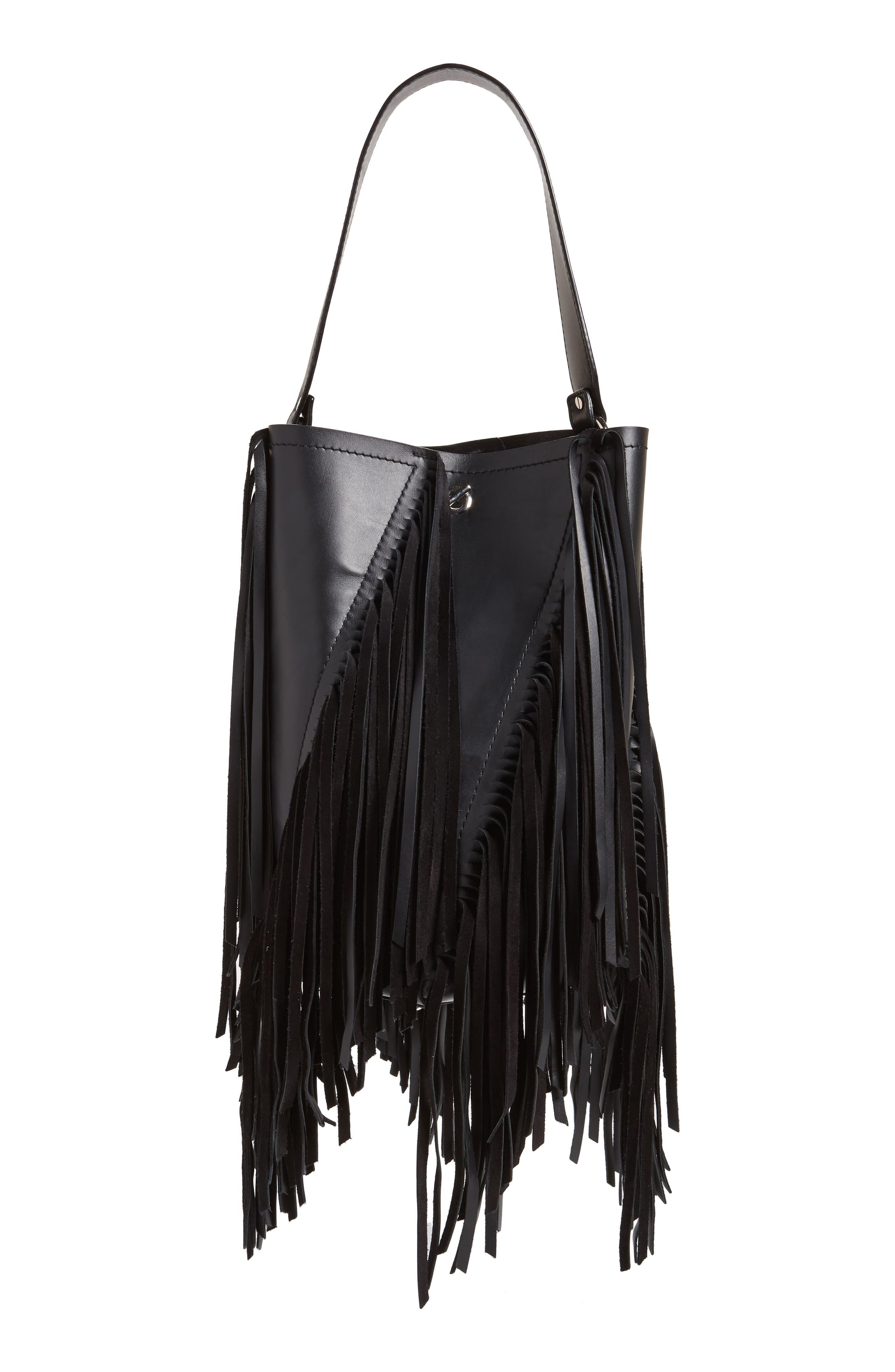 PROENZA SCHOULER Medium Hex Fringe Calfskin Leather Bucket Bag, Main, color, BLACK/ BLACK
