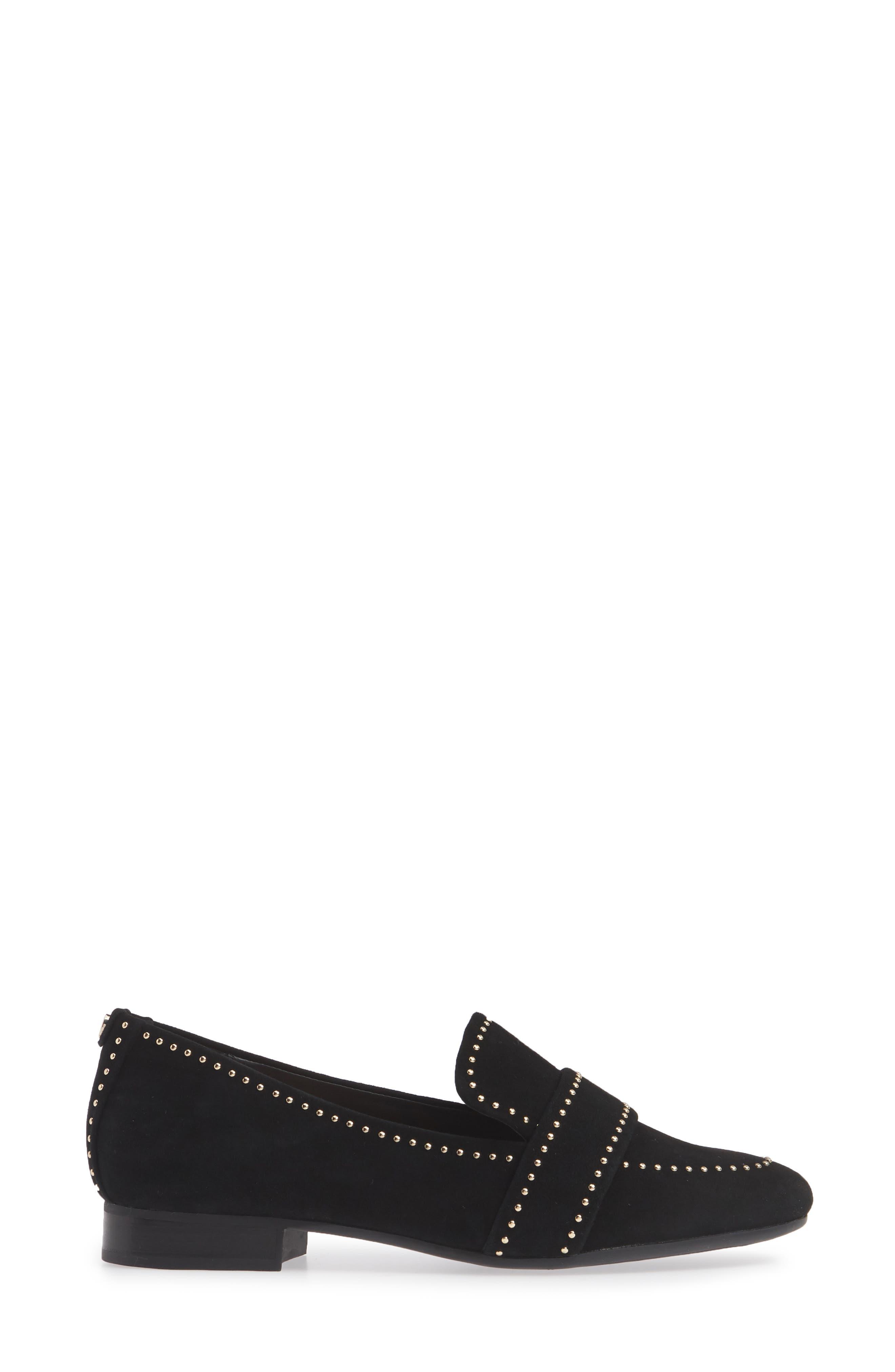 TARYN ROSE, Bristol Loafer, Alternate thumbnail 3, color, BLACK SUEDE