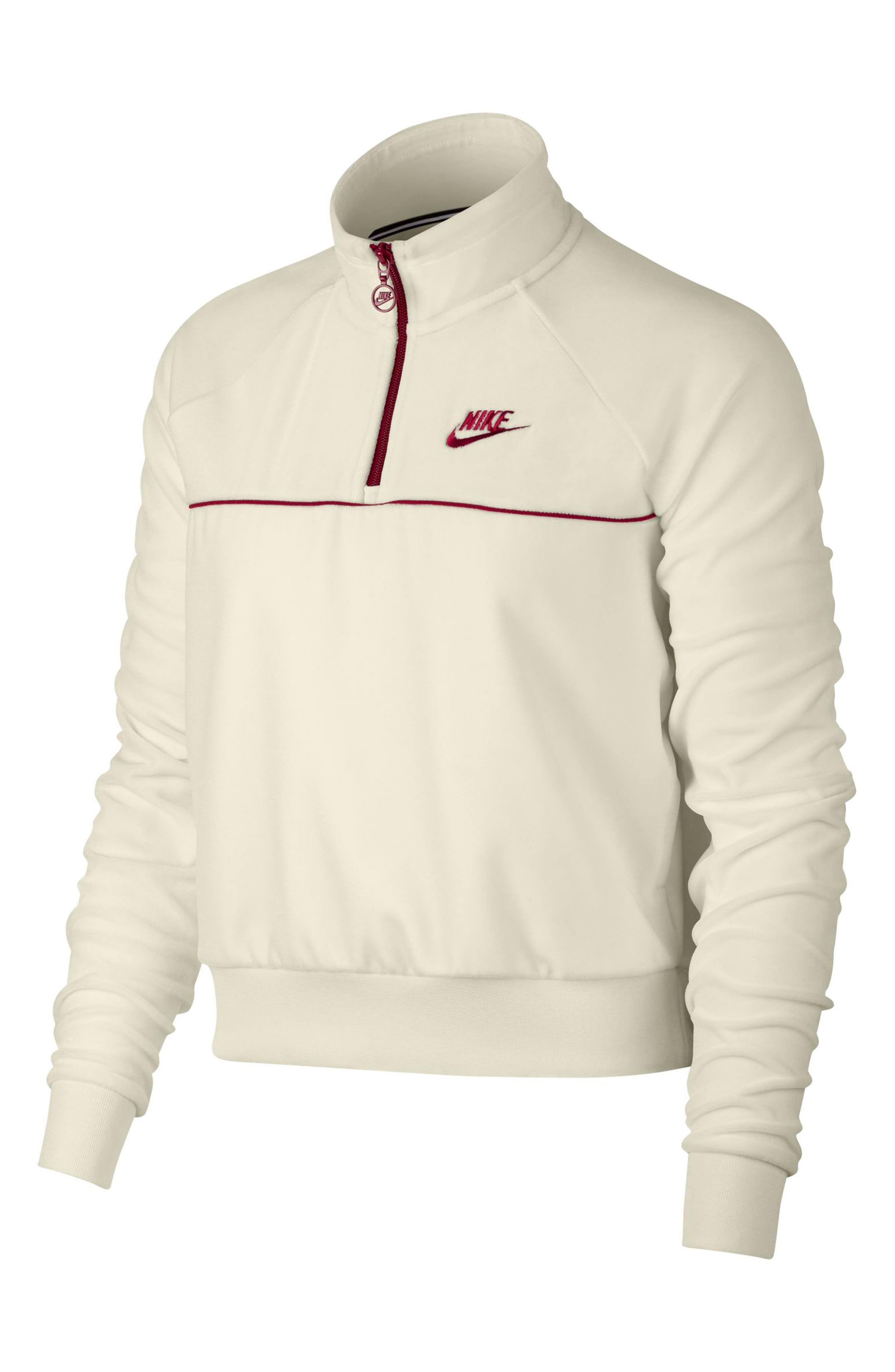 NIKE, Sportswear Quarter Zip Velour Pullover, Main thumbnail 1, color, SAIL/ RED CRUSH