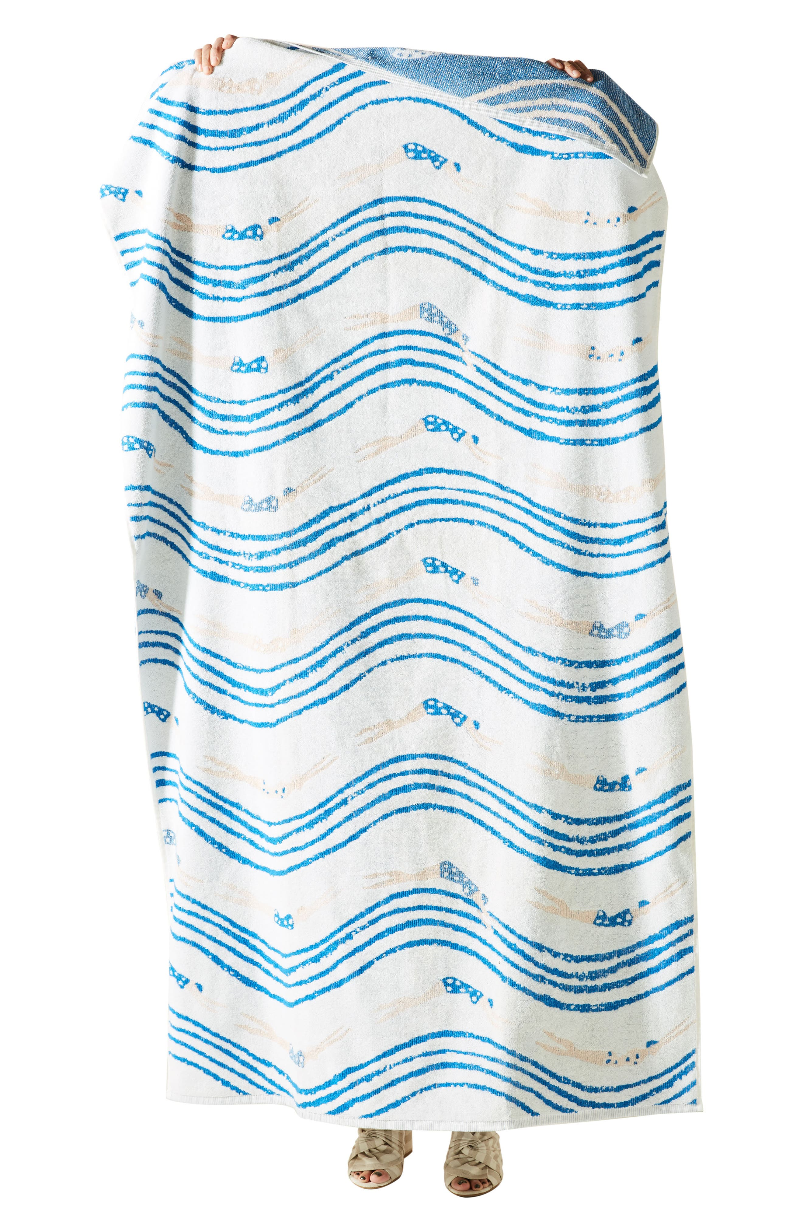 ANTHROPOLOGIE, Emily Isabella Beach Towel, Alternate thumbnail 3, color, BLUE