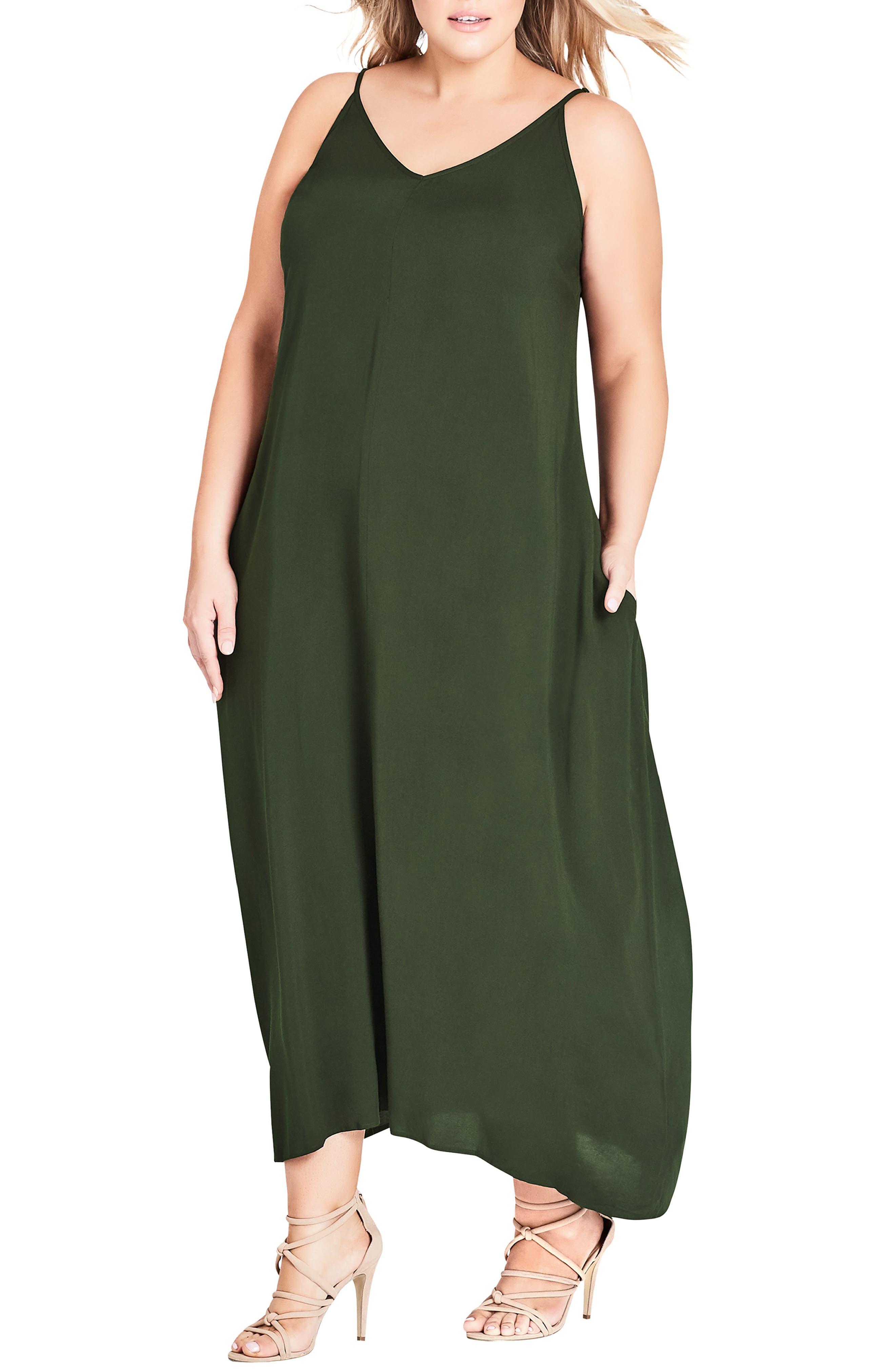 CITY CHIC, V-Neck Maxi Dress, Main thumbnail 1, color, OLIVE