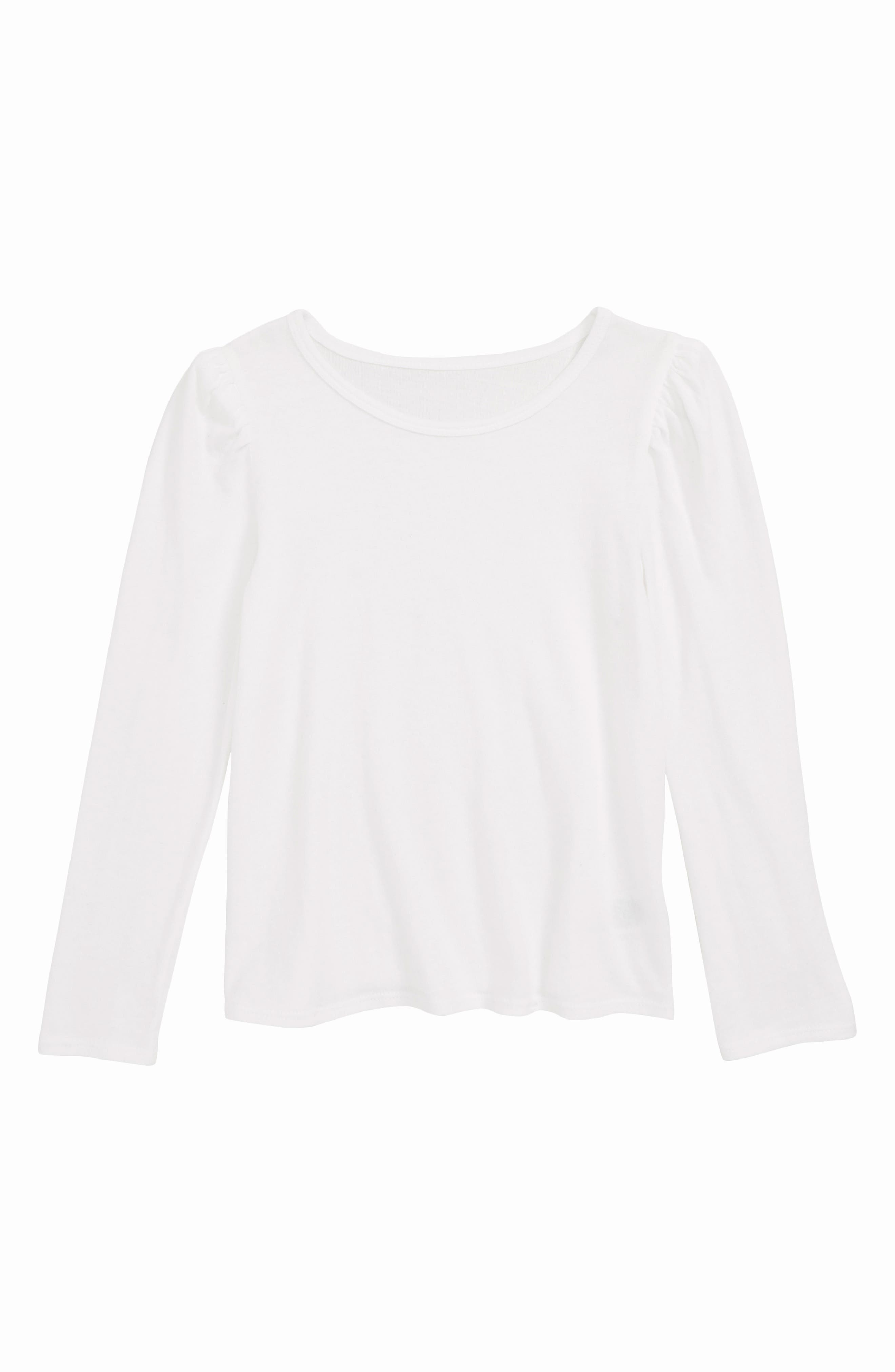 SOMETHING NAVY, Puff Sleeve Knit Top, Main thumbnail 1, color, WHITE
