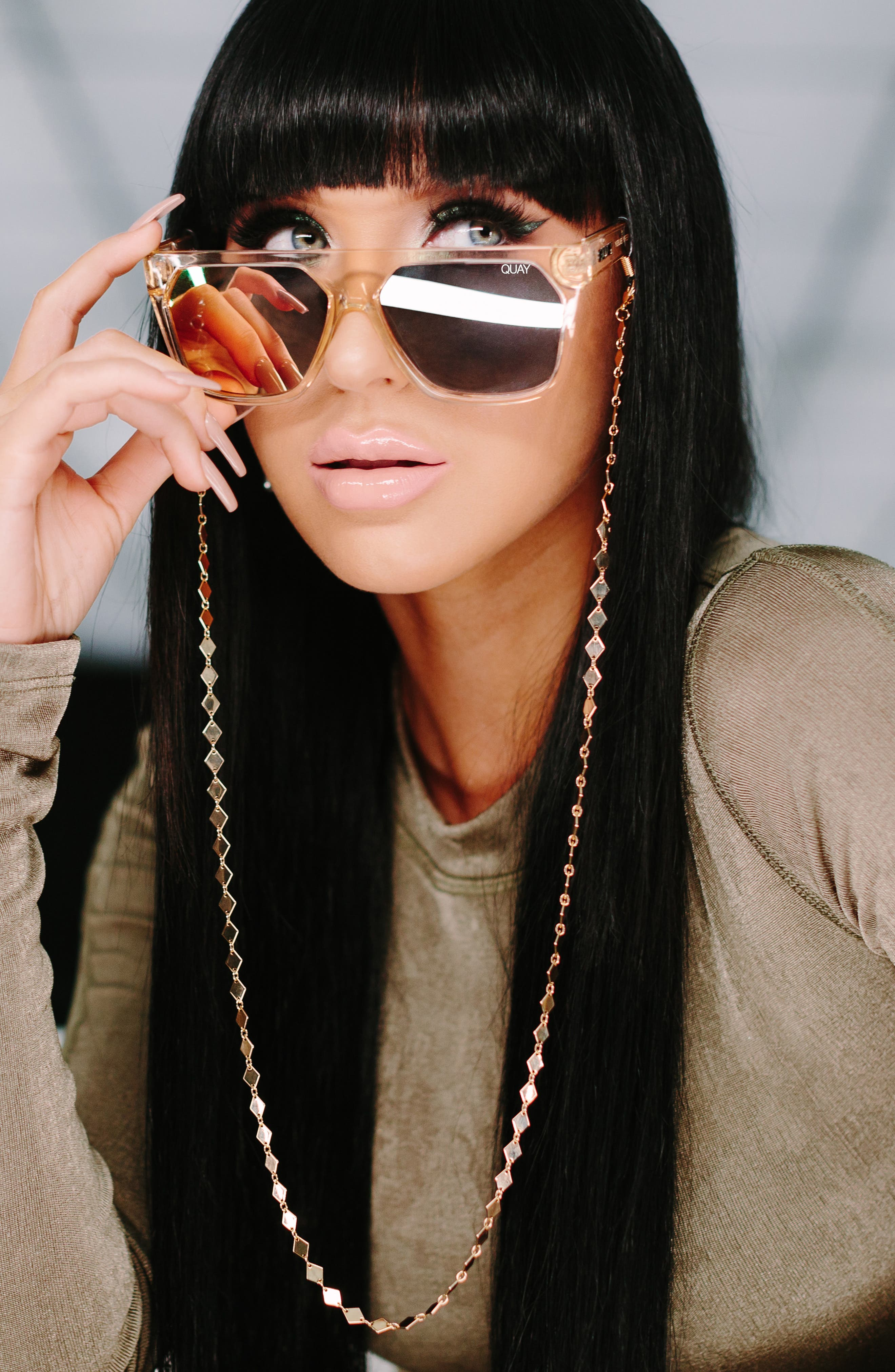 QUAY AUSTRALIA, x Jaclyn Hill Very Busy 58mm Shield Sunglasses, Alternate thumbnail 5, color, CHAMPAGNE / ROSE
