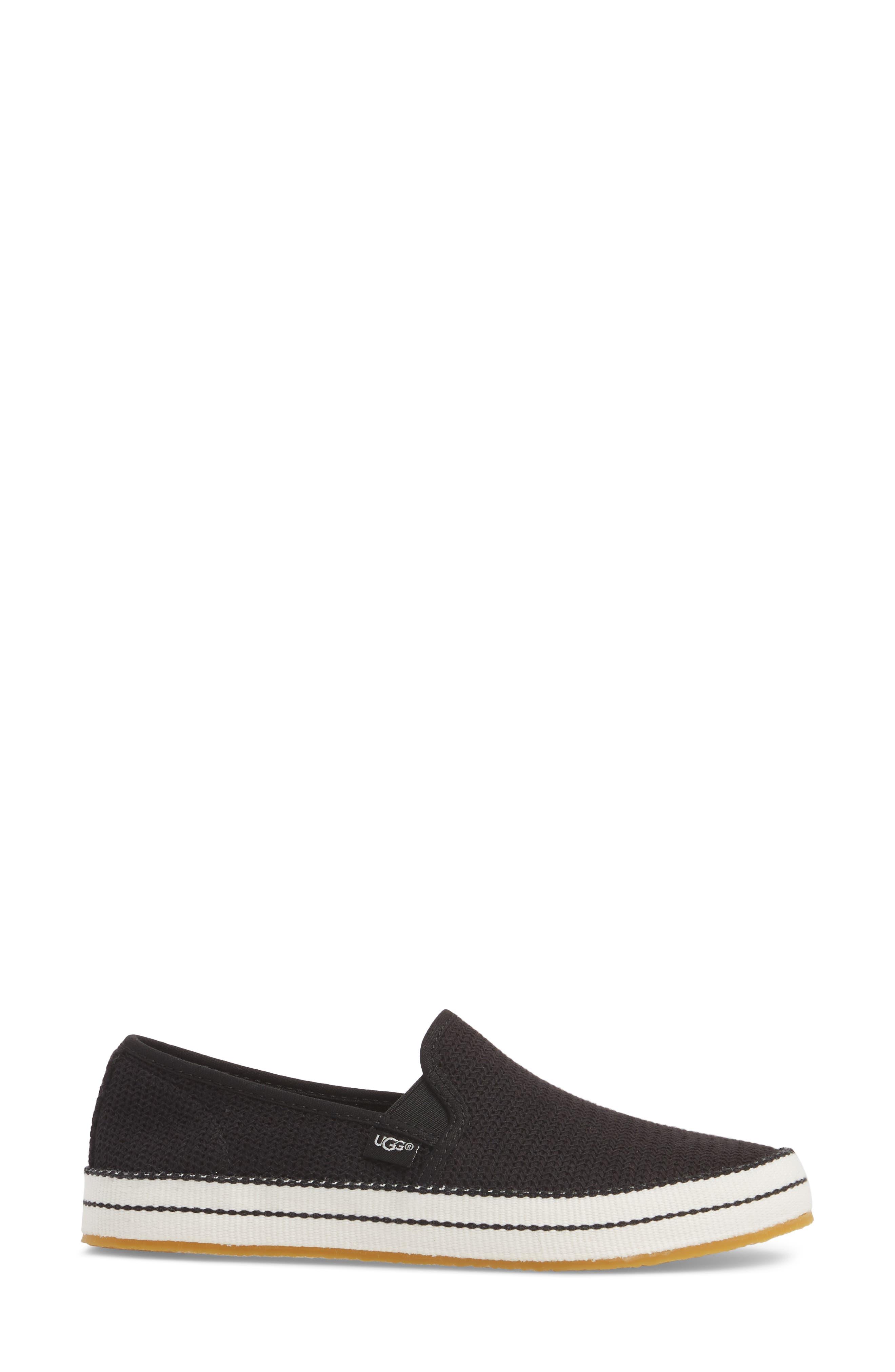 UGG<SUP>®</SUP>, Bren Slip-On Sneaker, Alternate thumbnail 3, color, BLACK