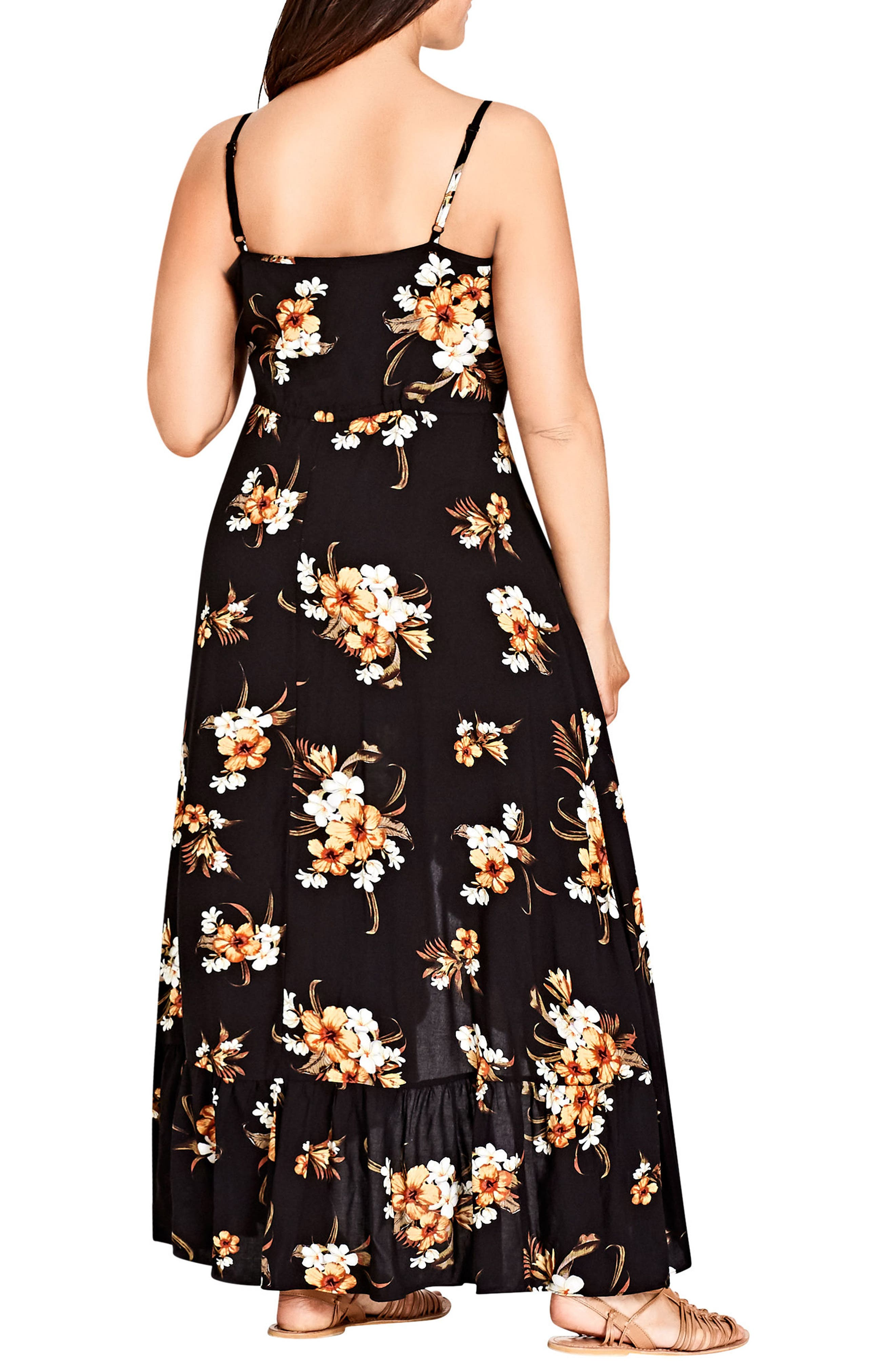 CITY CHIC, Aruba Floral Maxi Dress, Alternate thumbnail 2, color, BLACK PRINT