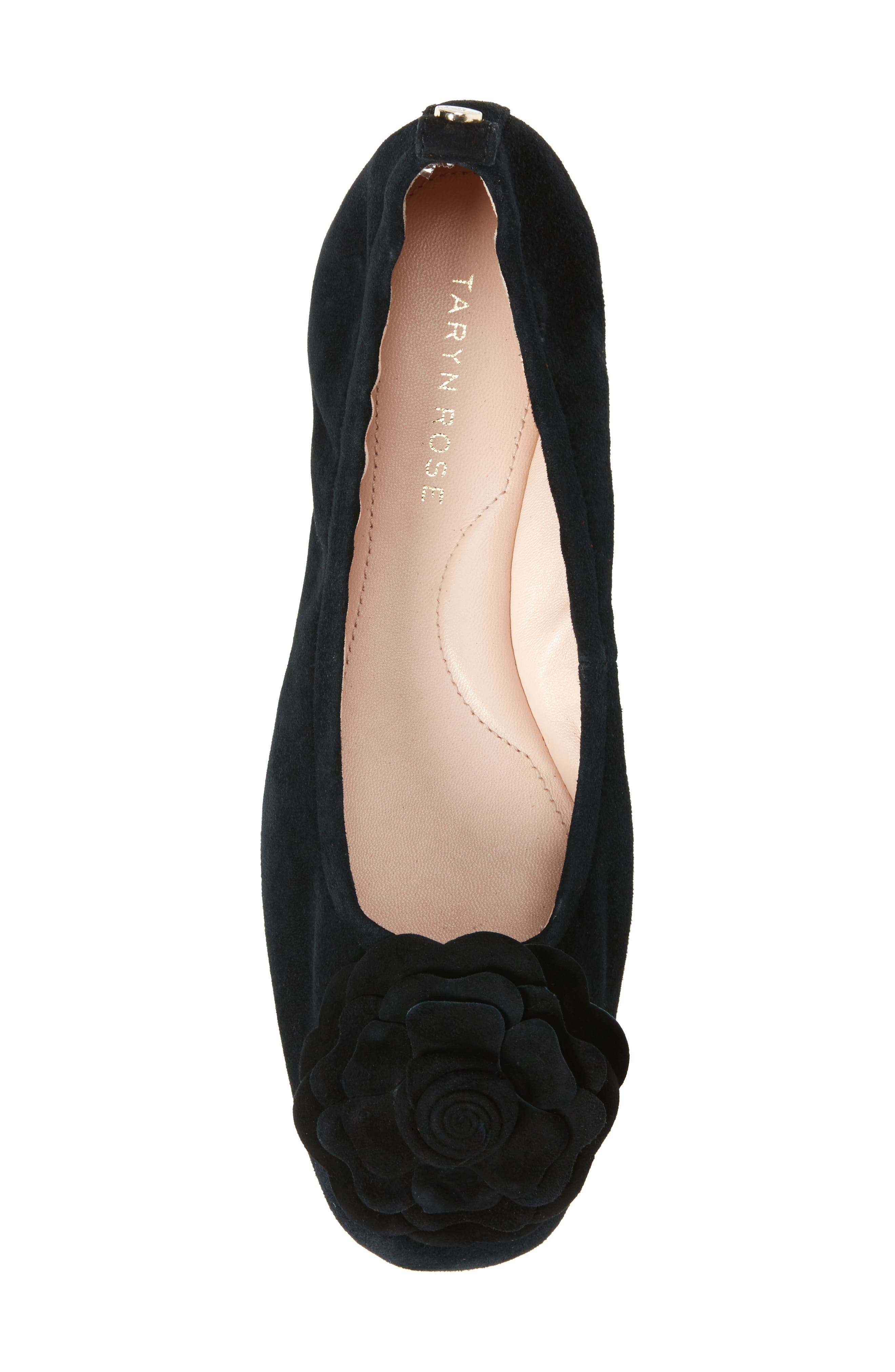 TARYN ROSE, Rosalyn Ballet Flat, Alternate thumbnail 5, color, BLACK SUEDE