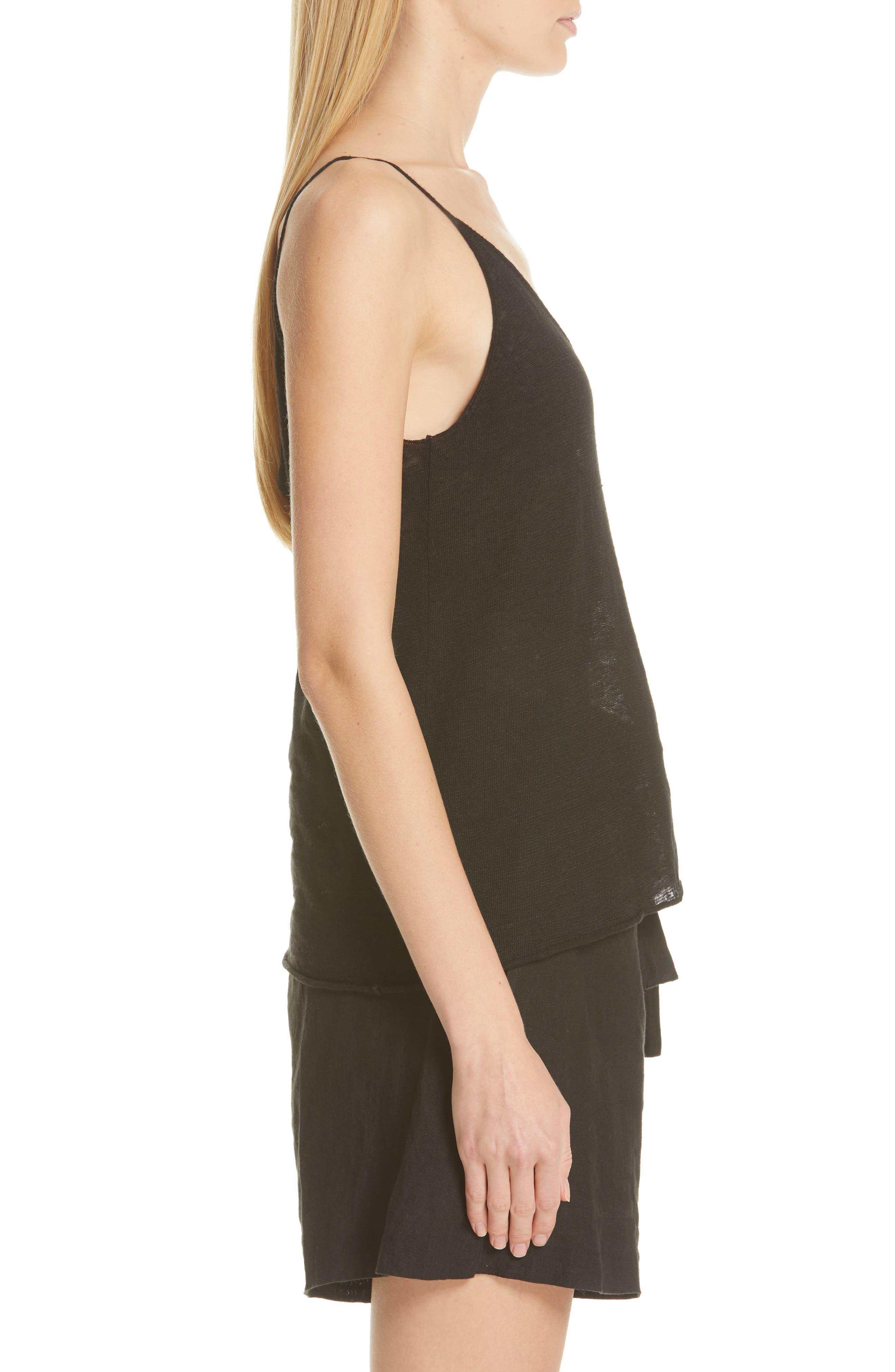 NILI LOTAN, Linen Sweater Tank, Alternate thumbnail 3, color, BLACK