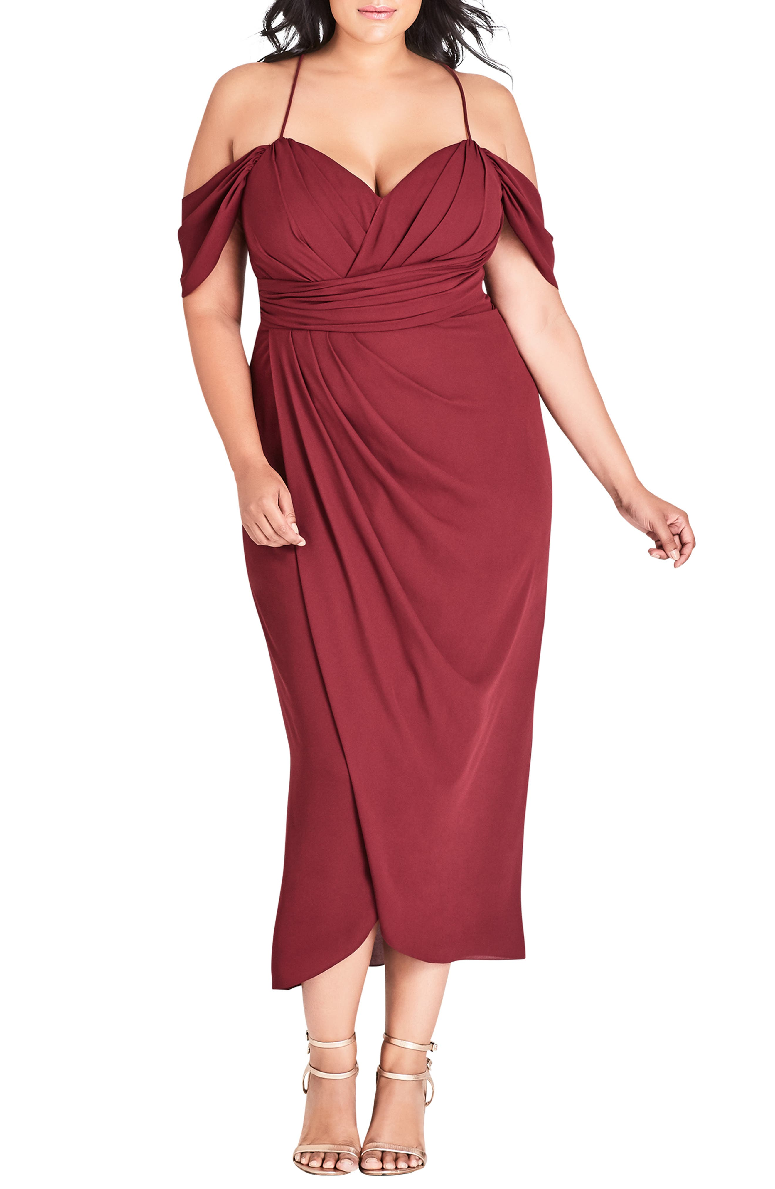 Plus Size City Chic Entwine Cold Shoulder Maxi Dress, Red
