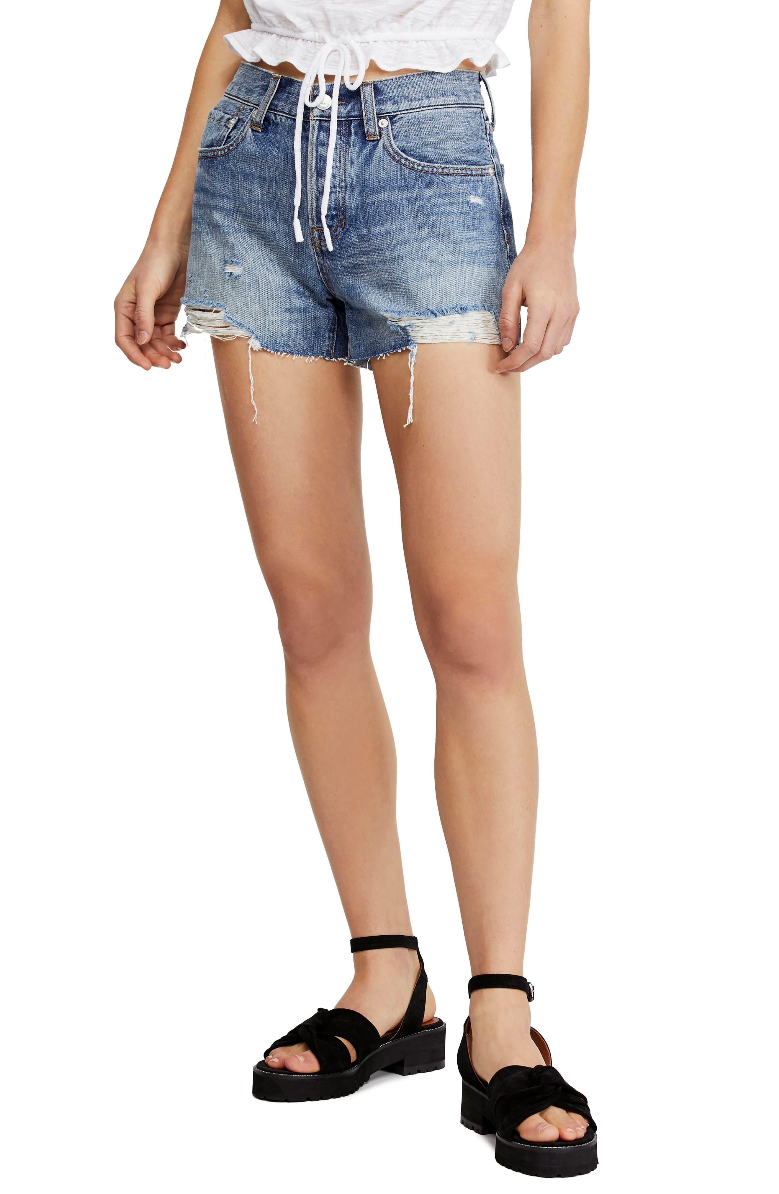 FREE PEOPLE Sofia Cutoff Denim Shorts, Main, color, DENIM BLUE