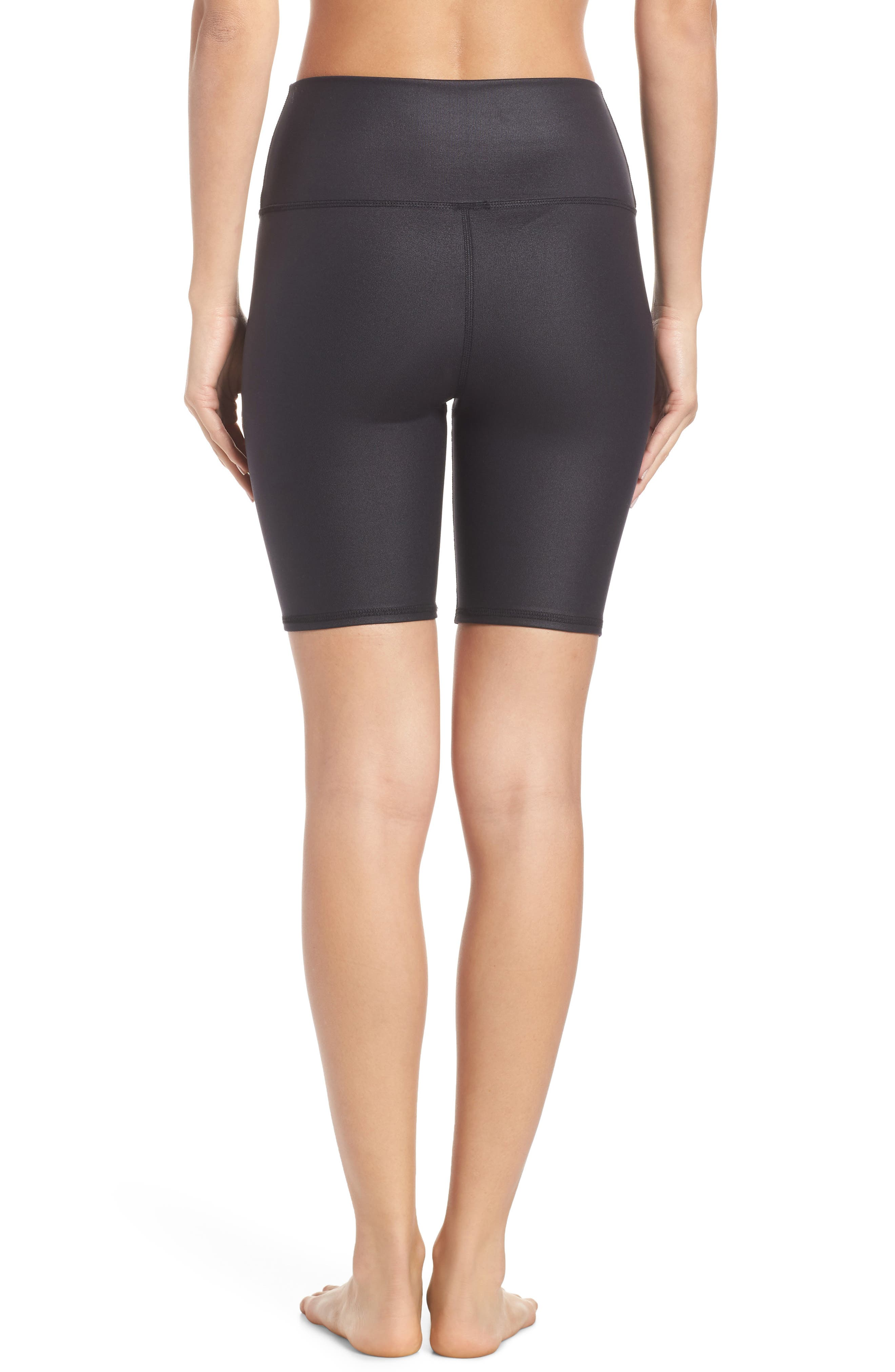 ALO, High Waist Biker Shorts, Alternate thumbnail 2, color, BLACK GLOSSY