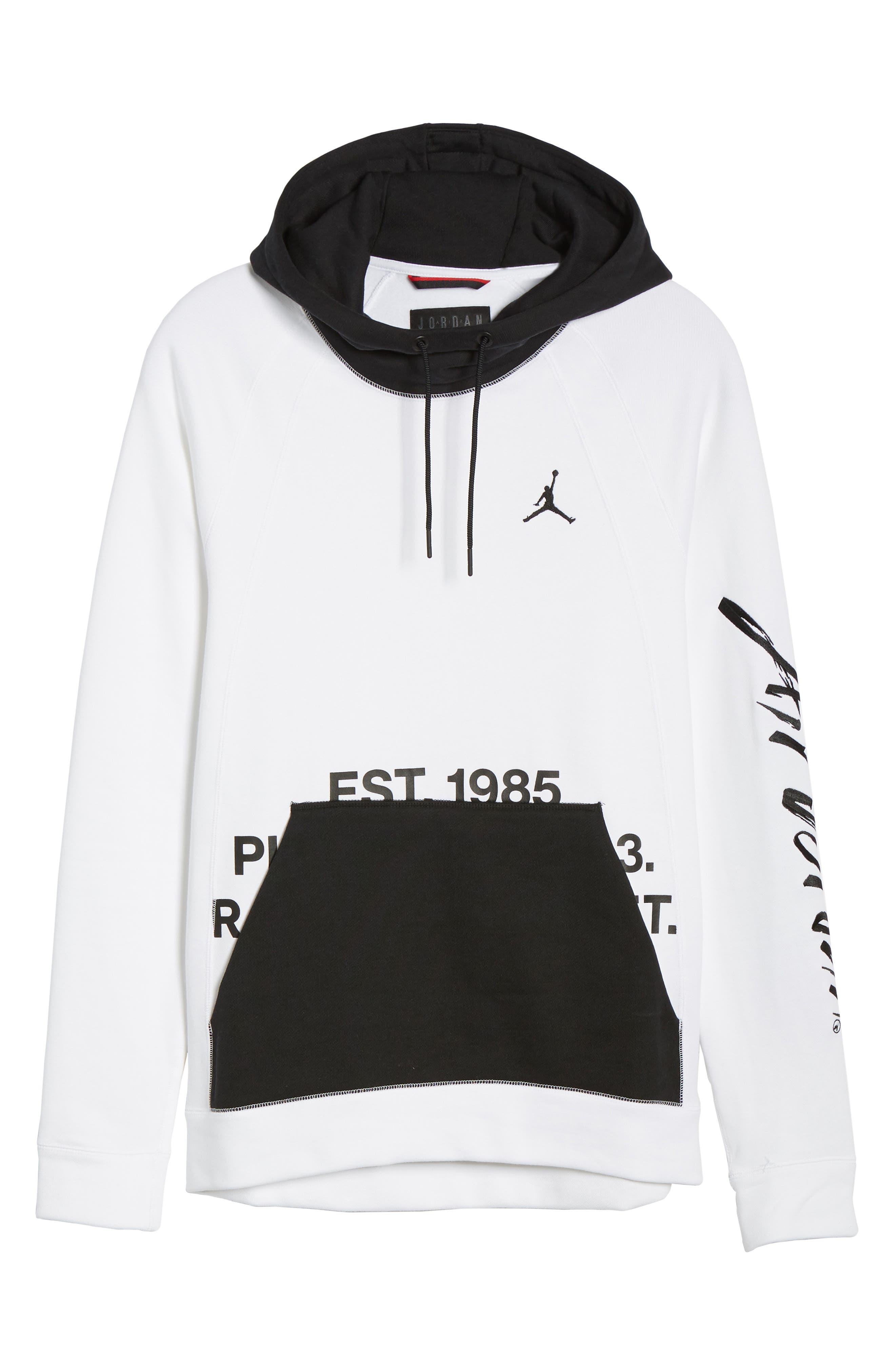 JORDAN, Sportswear Greatest Fleece Pullover Hoodie, Alternate thumbnail 7, color, WHITE/ BLACK