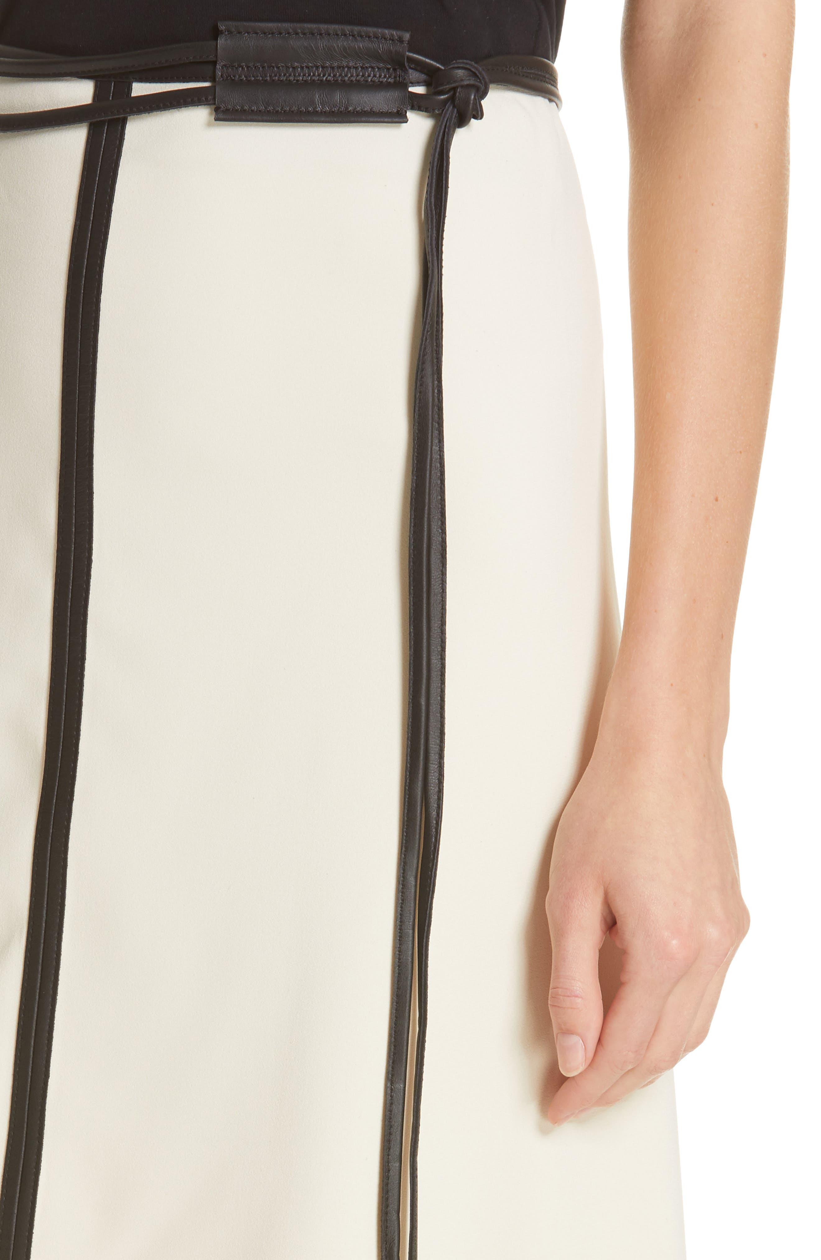 VICTORIA BECKHAM, Leather Trim Midi Skirt, Alternate thumbnail 4, color, MILK/ BLACK