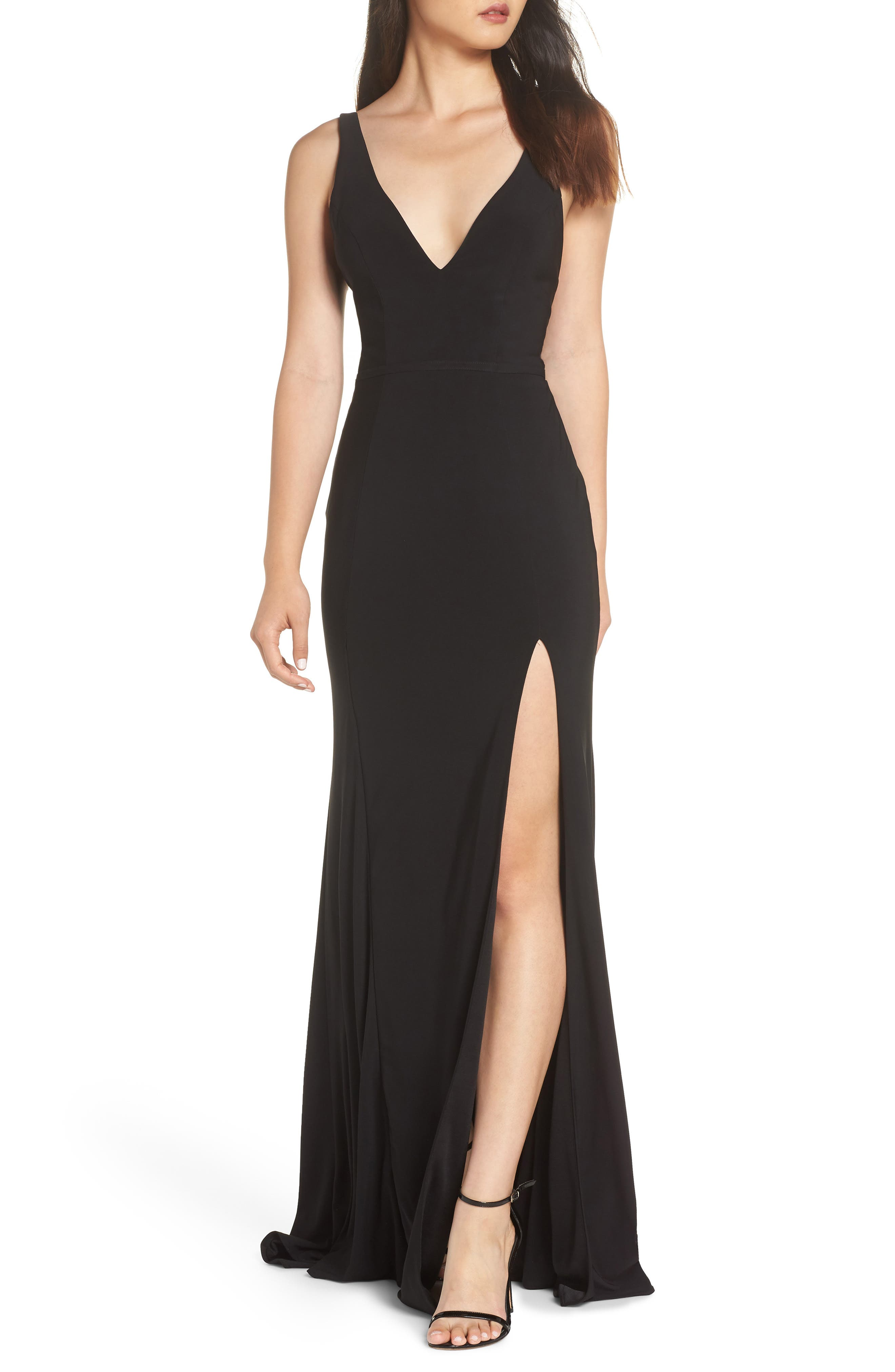 IEENA FOR MAC DUGGAL, Mac Duggal Plunge Neck Slit Jersey Gown, Main thumbnail 1, color, BLACK
