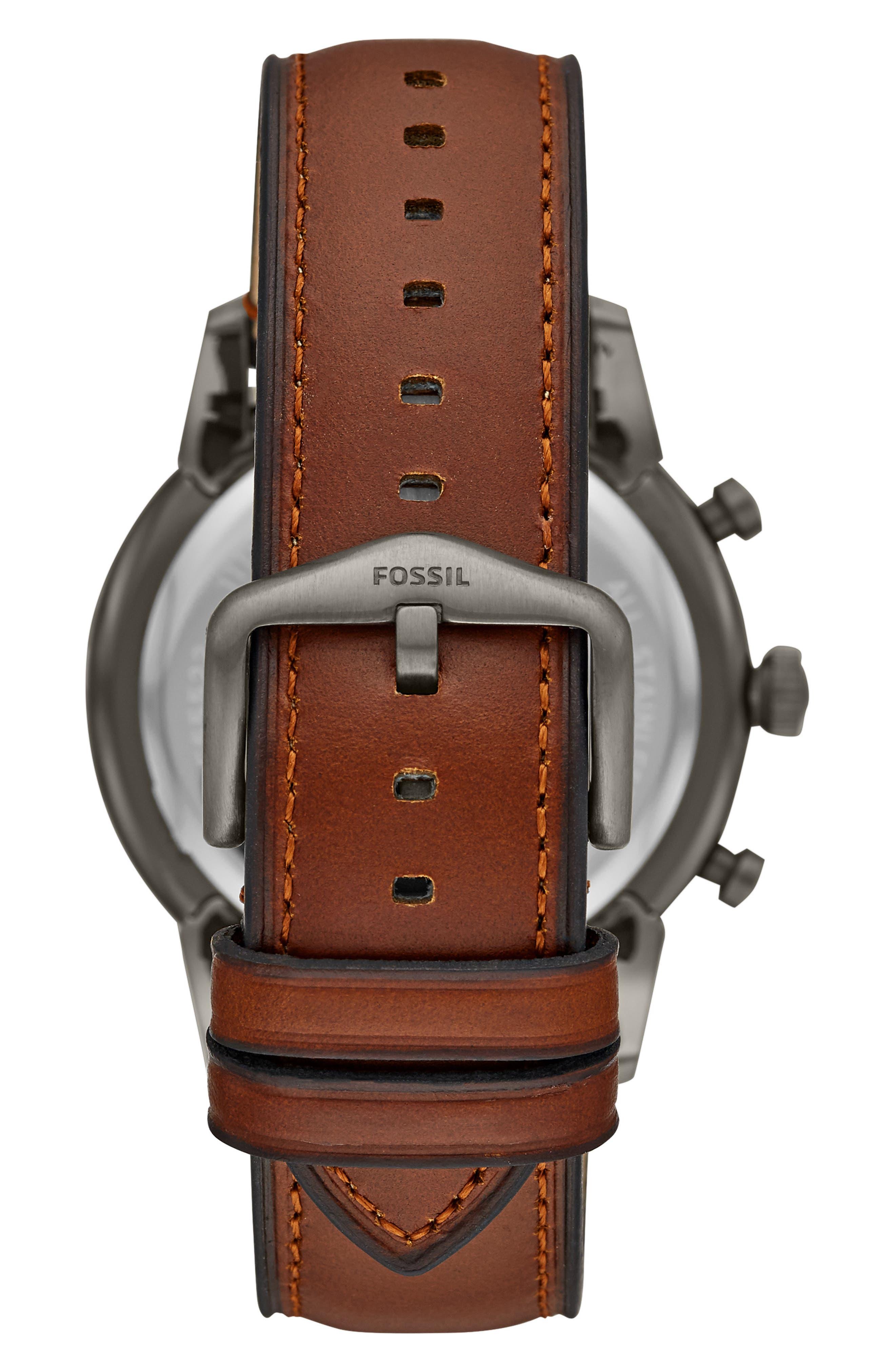 FOSSIL, Townsman Chronograph Leather Strap Watch, 44mm, Alternate thumbnail 2, color, BROWN/ GREY/ SMOKE