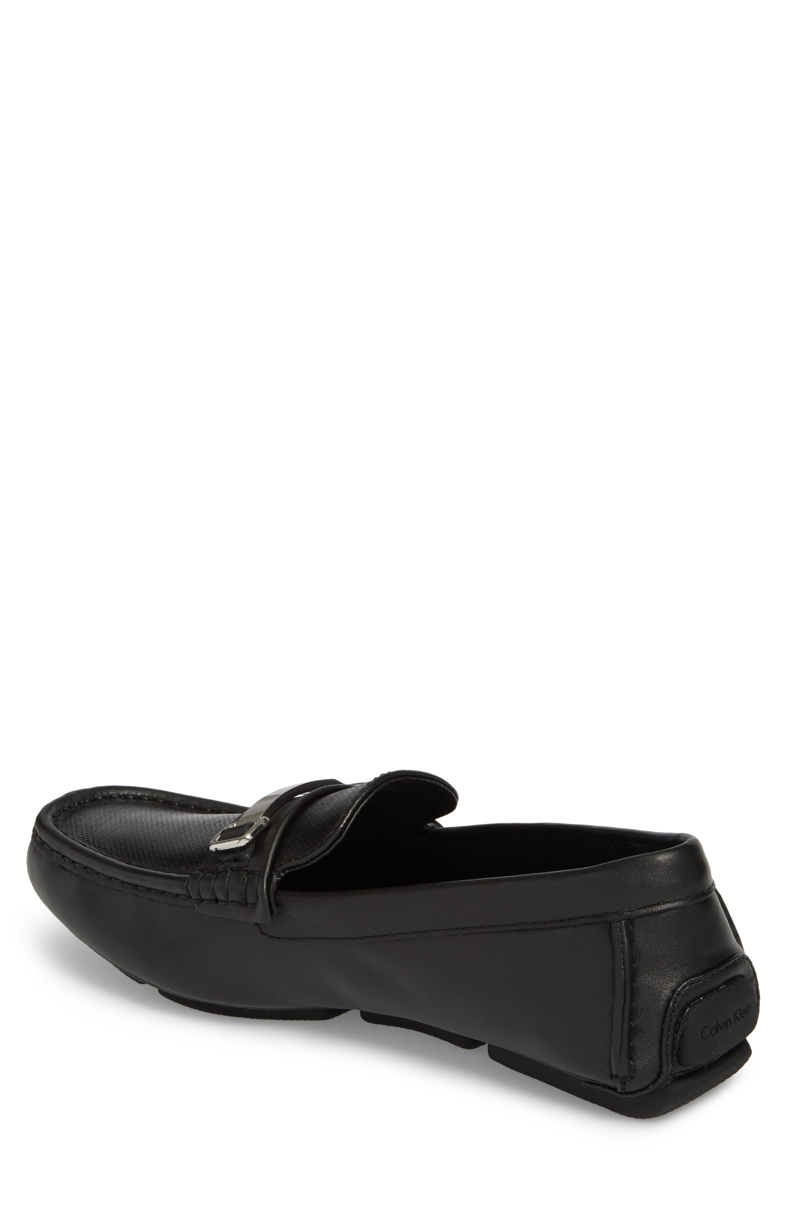 CALVIN KLEIN, Maddix Textured Driving Moccasin, Alternate thumbnail 2, color, BLACK LEATHER