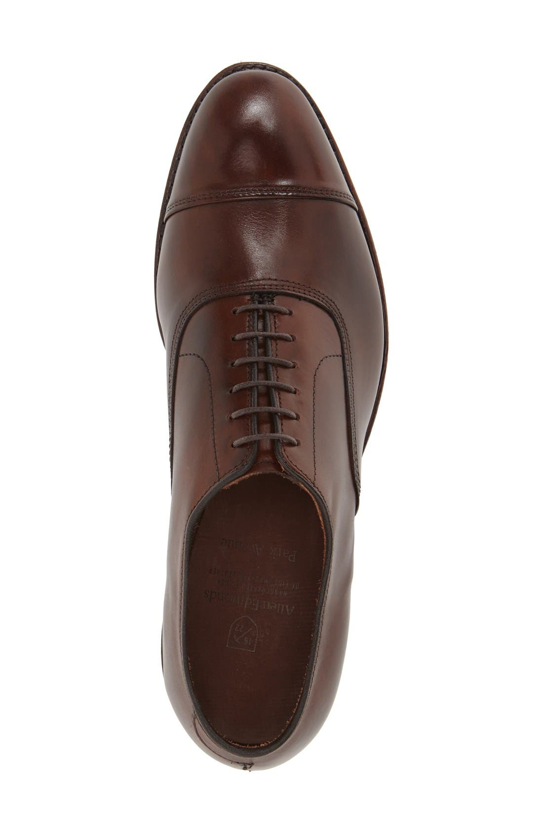 ALLEN EDMONDS, 'Park Avenue' Cap Toe Oxford, Alternate thumbnail 3, color, DARK CHILI BURNISHED