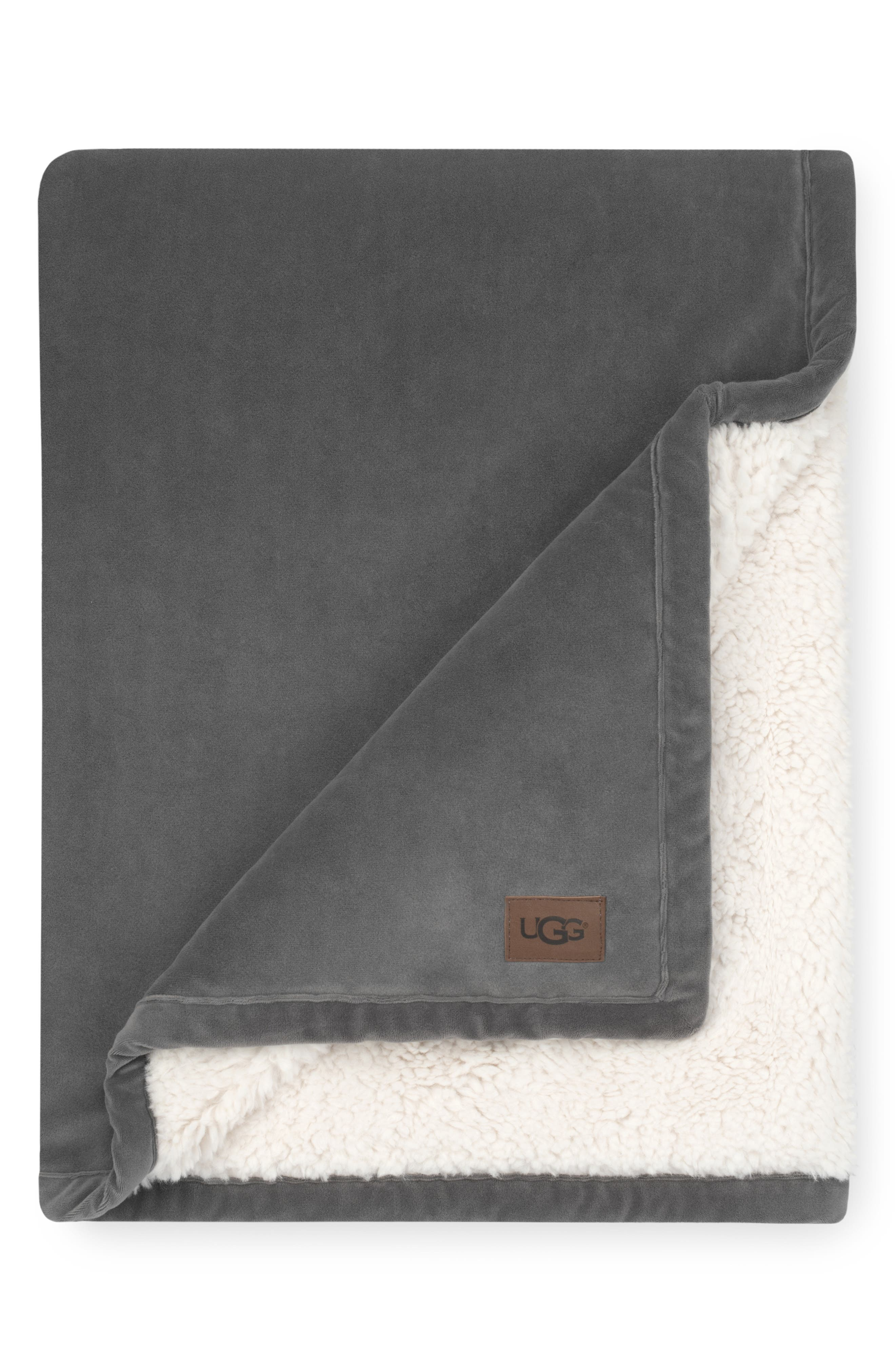 UGG<SUP>®</SUP> Bliss Fuzzy Throw, Main, color, CHARCOAL