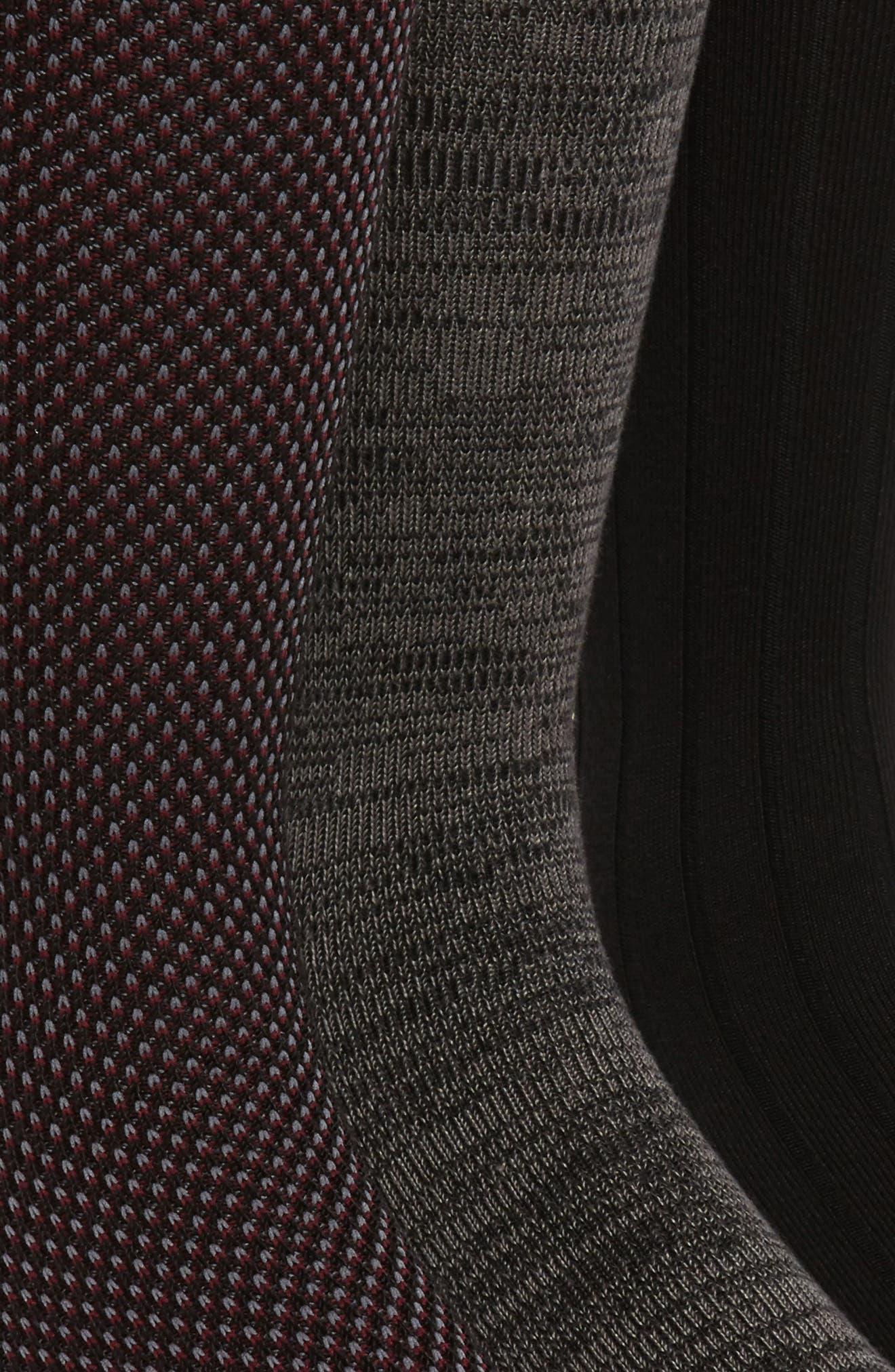 POLO RALPH LAUREN, Assorted 3-Pack Bird's Eye Socks, Alternate thumbnail 2, color, BLACK