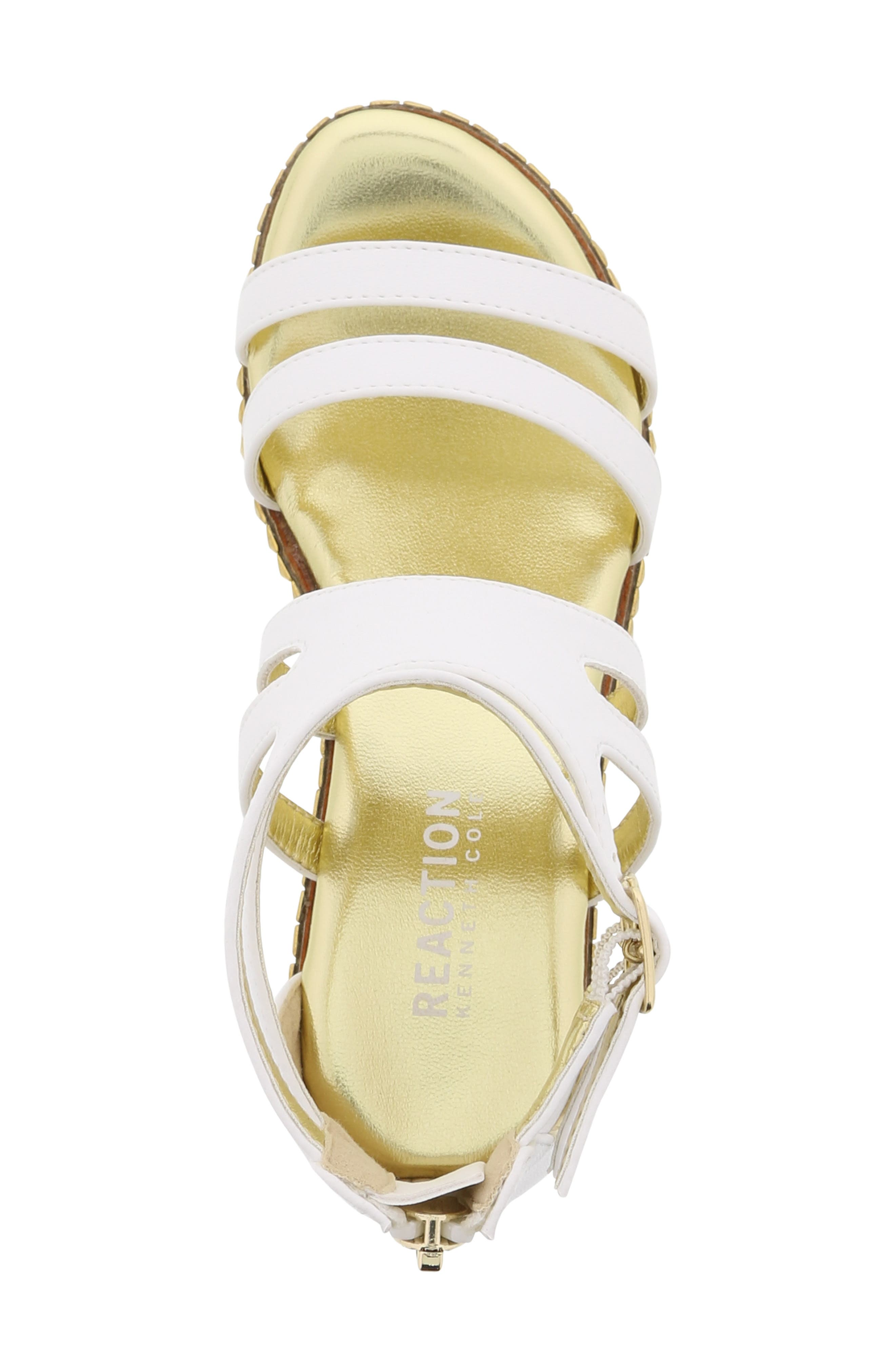 REACTION KENNETH COLE, Reed Splash Wedge Sandal, Alternate thumbnail 5, color, WHITE