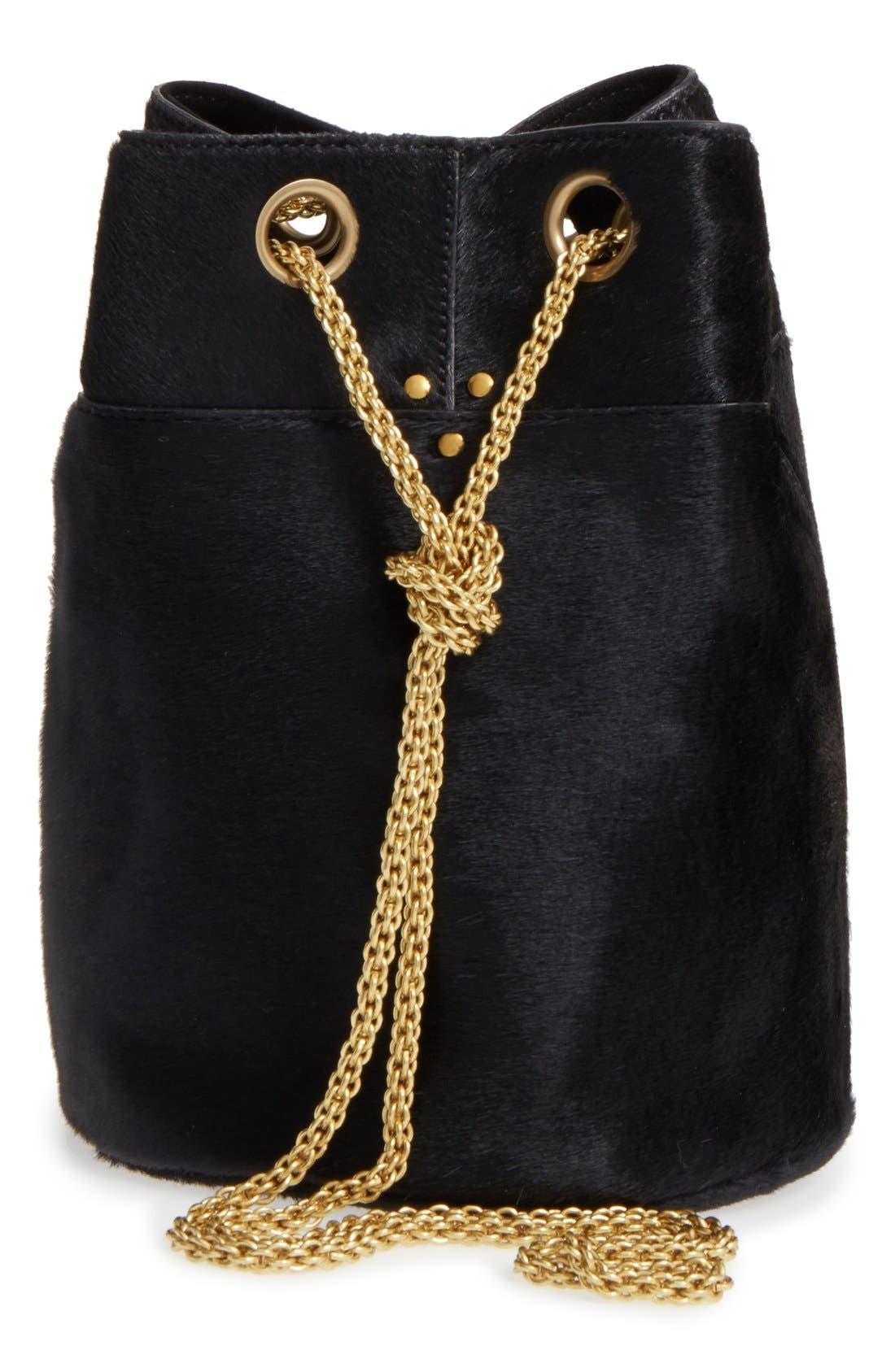 JEROME DREYFUSS, 'Small Popeye' Genuine Calf Hair Bucket Bag, Main thumbnail 1, color, 001