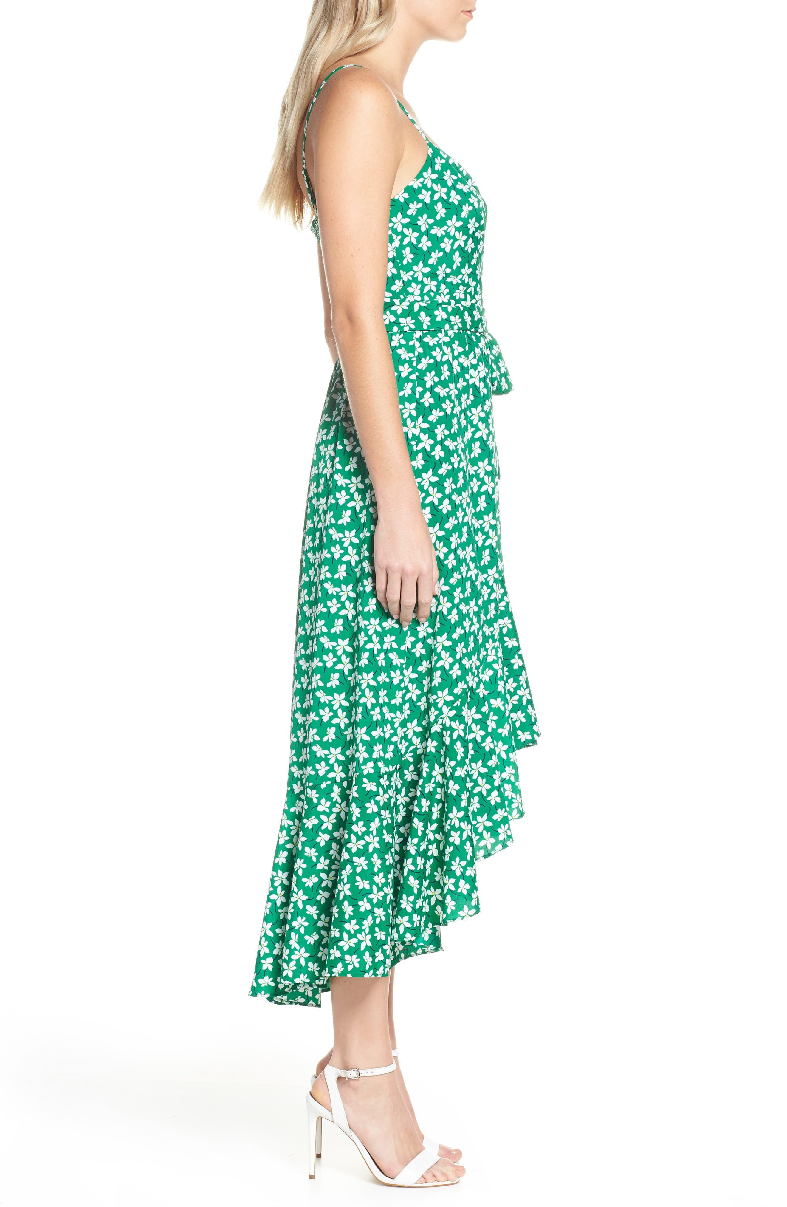 ELIZA J, Floral High/Low Faux Wrap Dress, Alternate thumbnail 4, color, GREEN