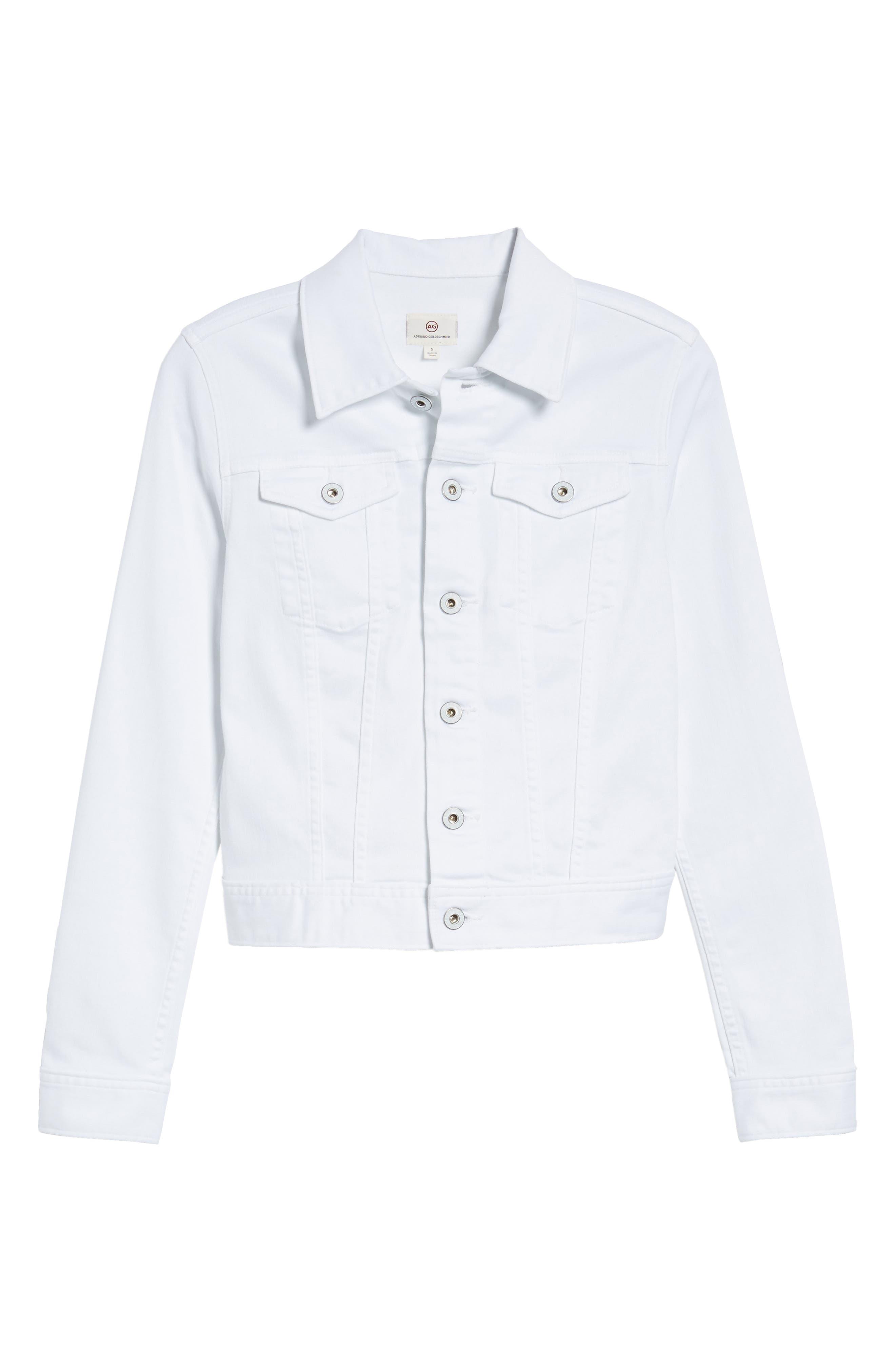 AG, 'Robyn' Denim Jacket, Alternate thumbnail 6, color, WHITE