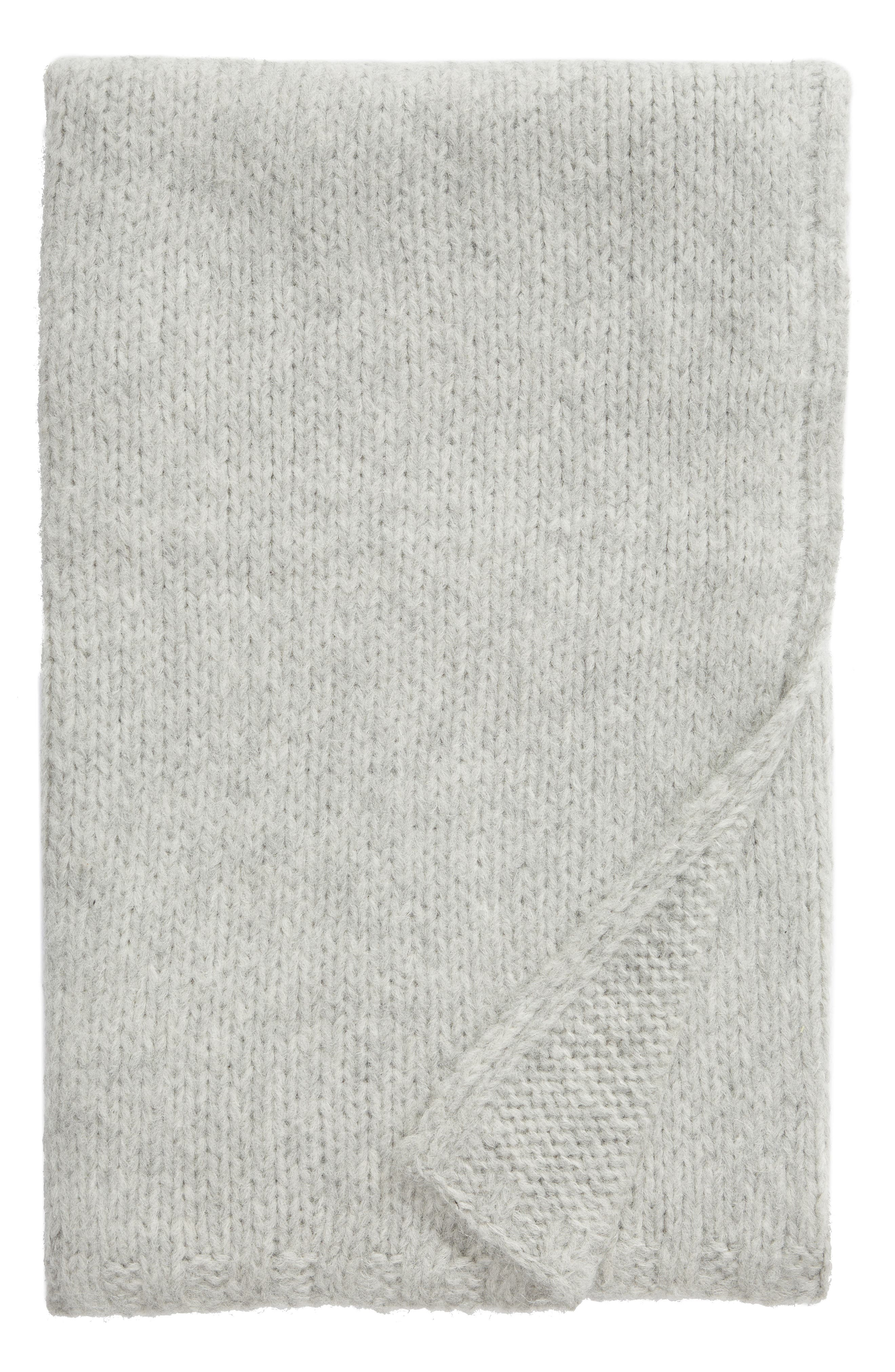 NORDSTROM SIGNATURE, Chunky Knit Alpaca Blend Throw Blanket, Main thumbnail 1, color, GREY HEATHER