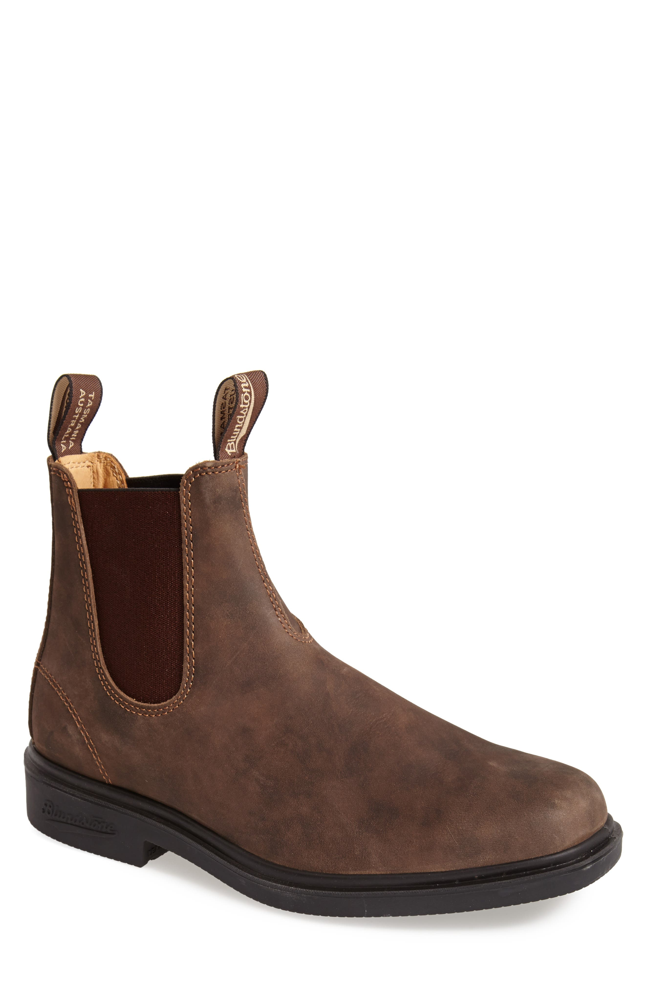 BLUNDSTONE FOOTWEAR, Chelsea Boot, Alternate thumbnail 3, color, RUSTIC BROWN