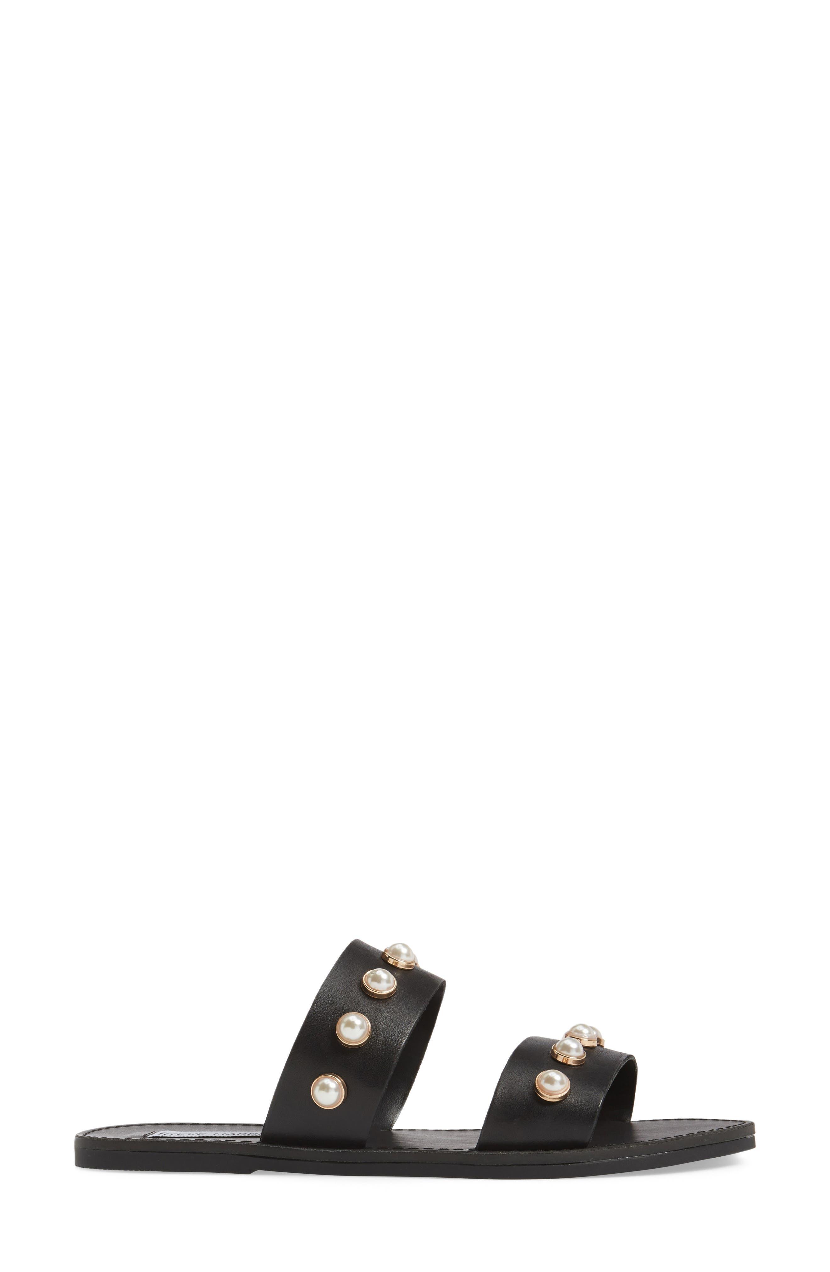 STEVE MADDEN, Jole Embellished Slide Sandal, Alternate thumbnail 3, color, 001