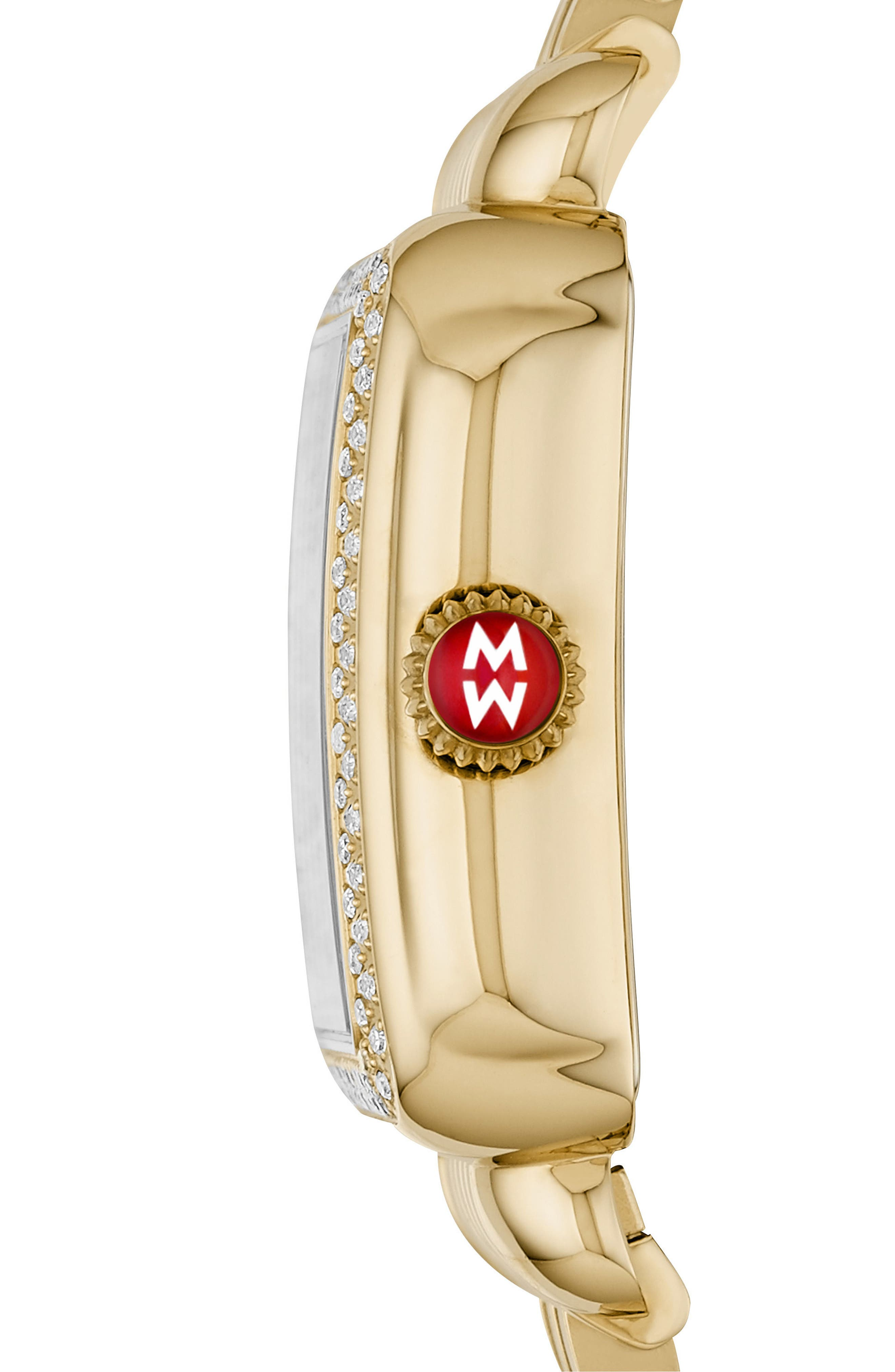 MICHELE, Deco Madison Diamond Dial Watch Case, 33mm x 35mm, Alternate thumbnail 3, color, GOLD