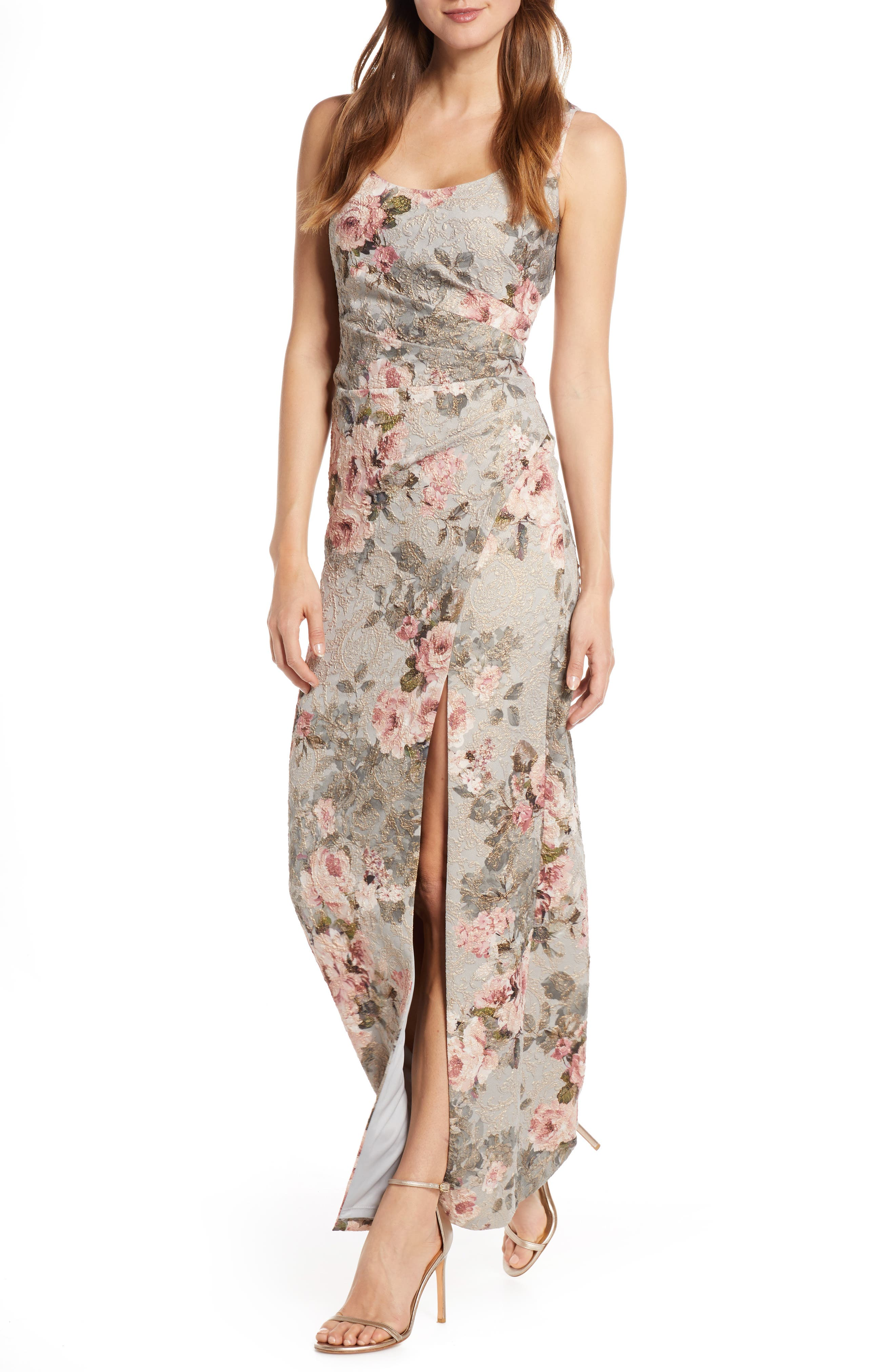 Adrianna Papell Floral Print Brocade Gown, Pink