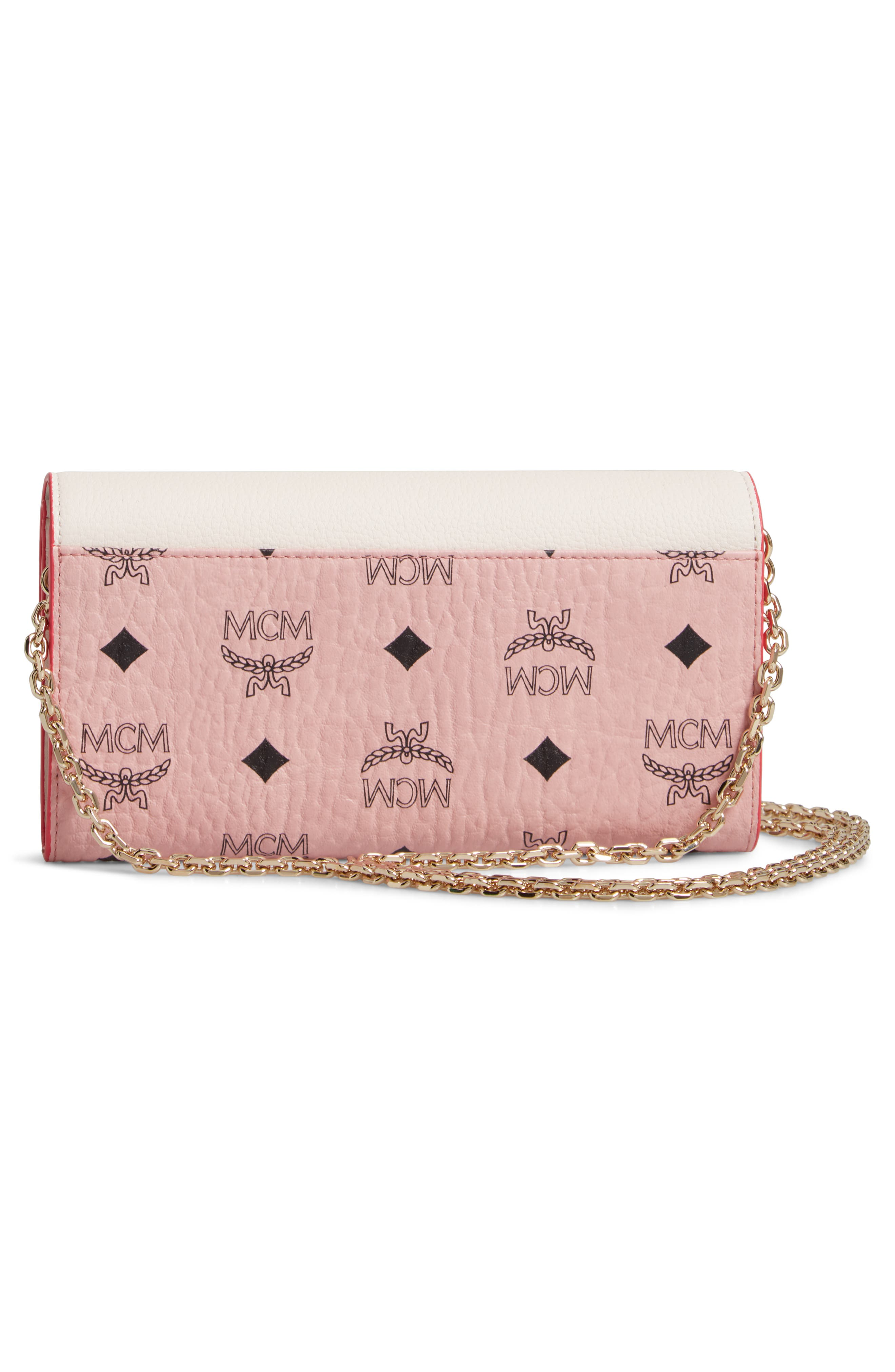 MCM, Patricia Visetos Leather Wallet on a Chain, Alternate thumbnail 3, color, SOFT PINK SHELL