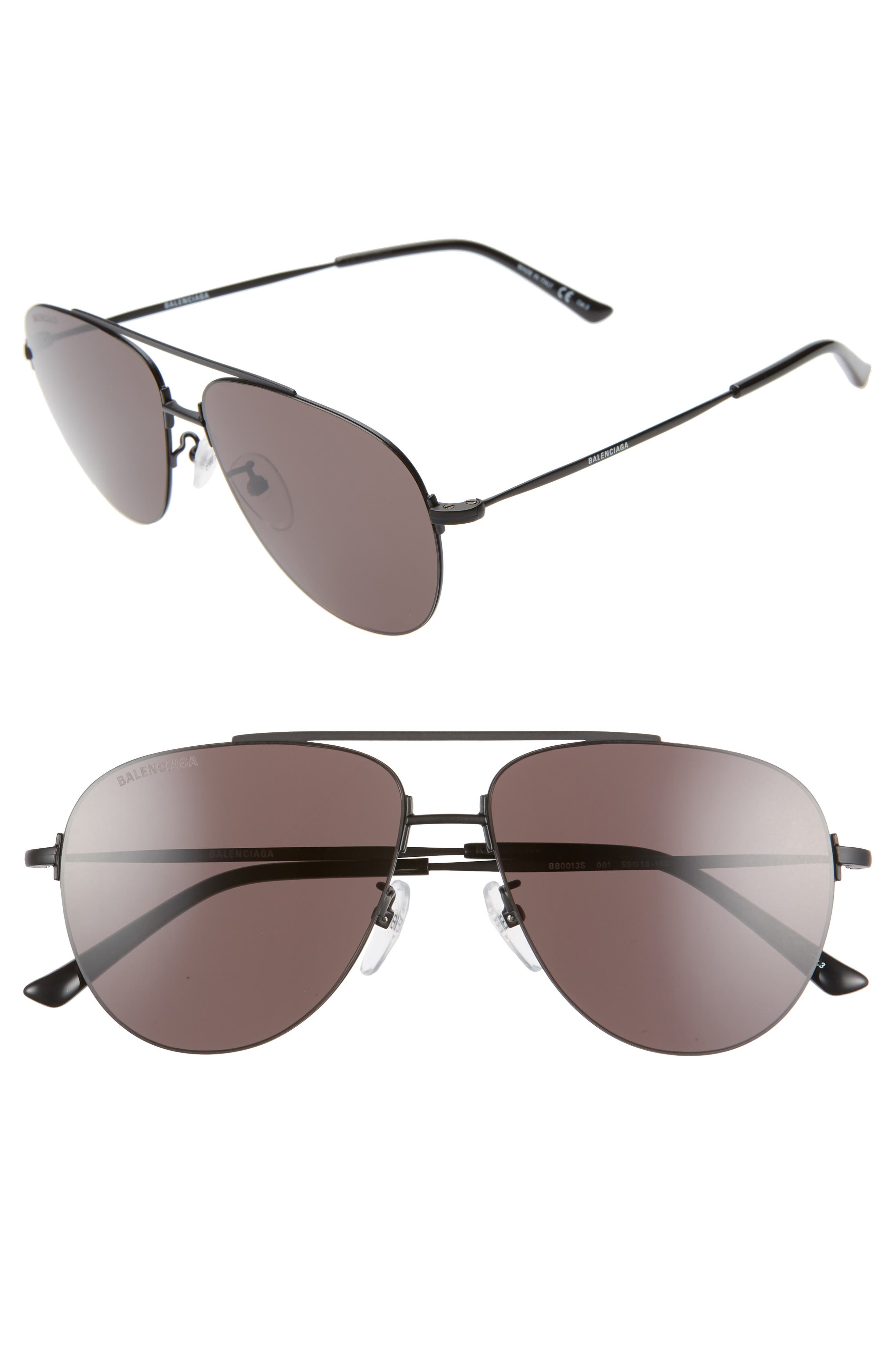BALENCIAGA 59mm Aviator Sunglasses, Main, color, SEMI-MATTE BLACK/ GREY