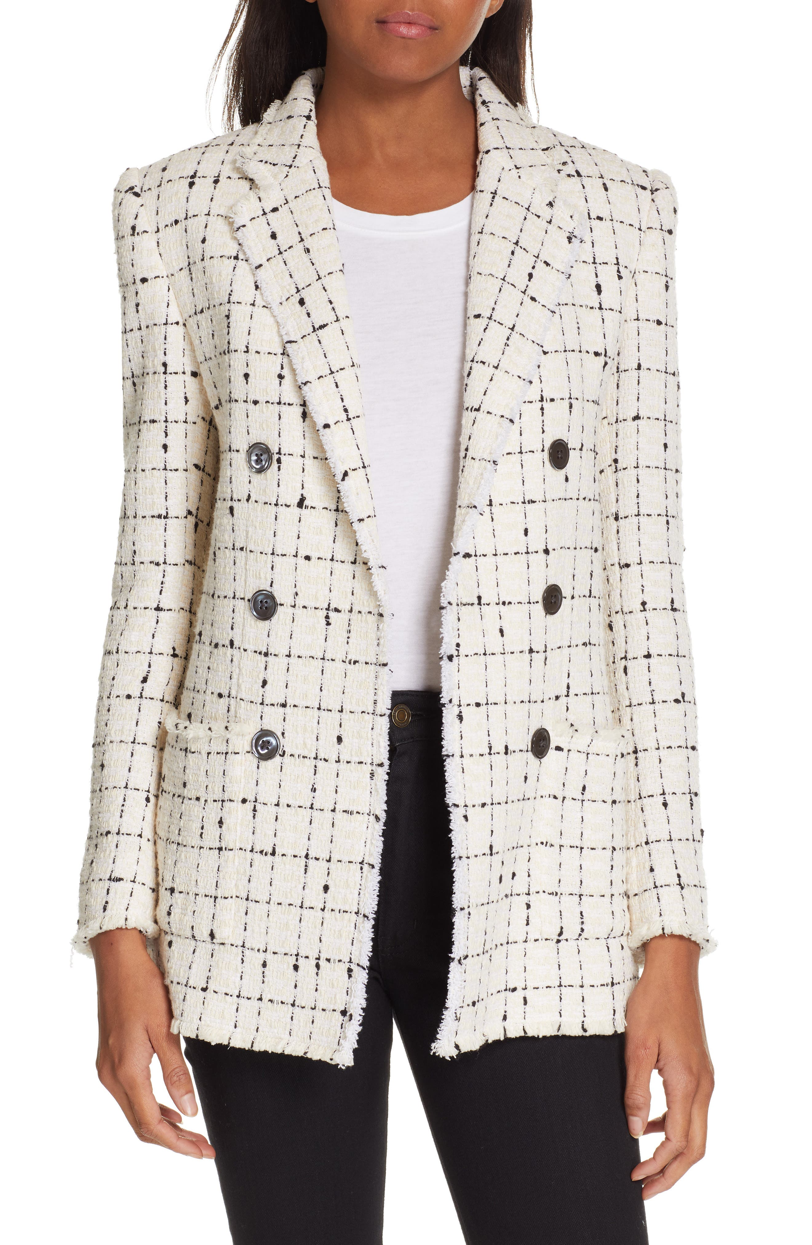 REBECCA TAYLOR, Windowpane Plaid Tweed Double-Breasted Blazer, Main thumbnail 1, color, 902