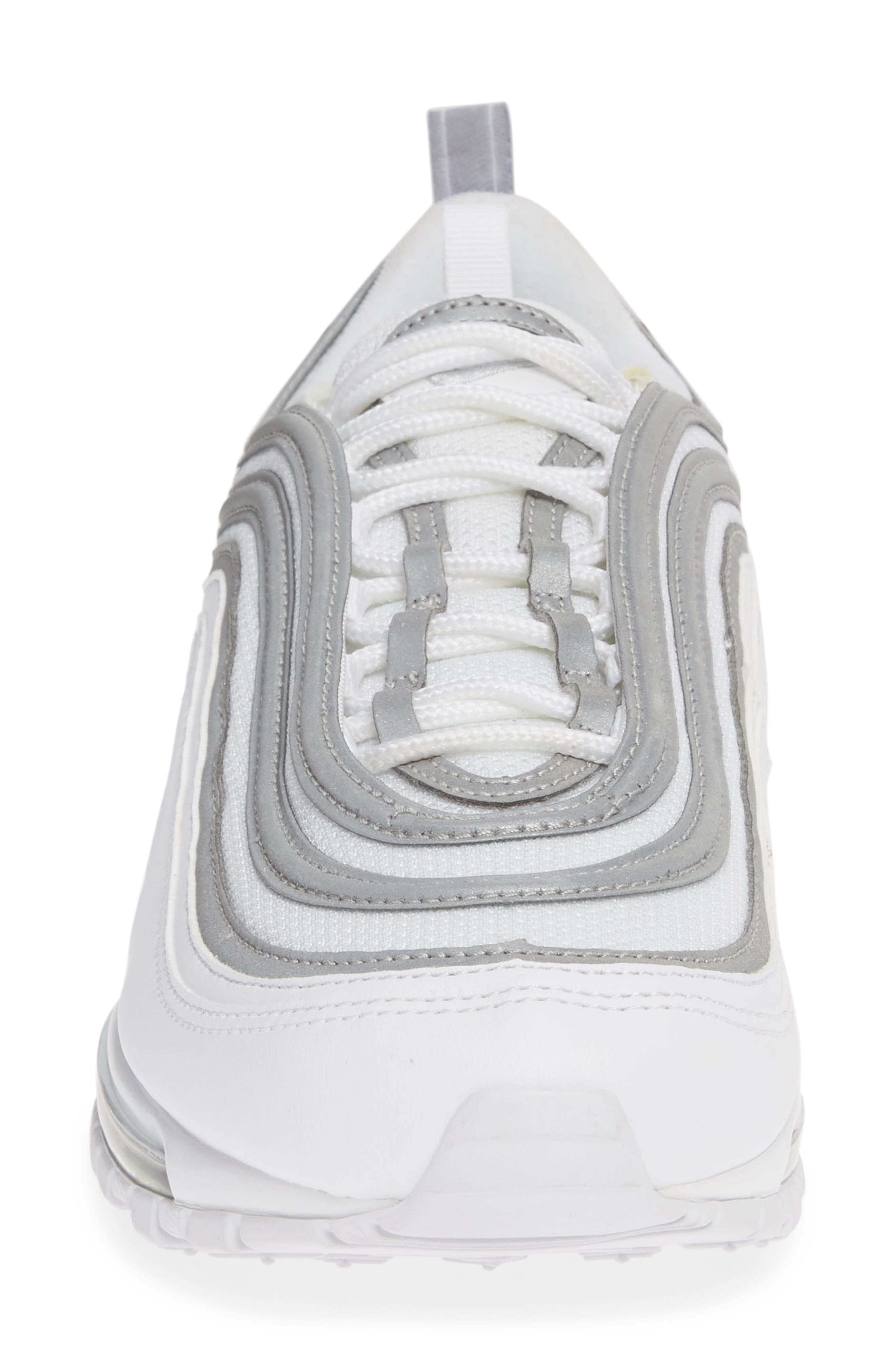 NIKE, Air Max 97 Sneaker, Alternate thumbnail 4, color, WHITE/ SILVER/ WOLF GREY