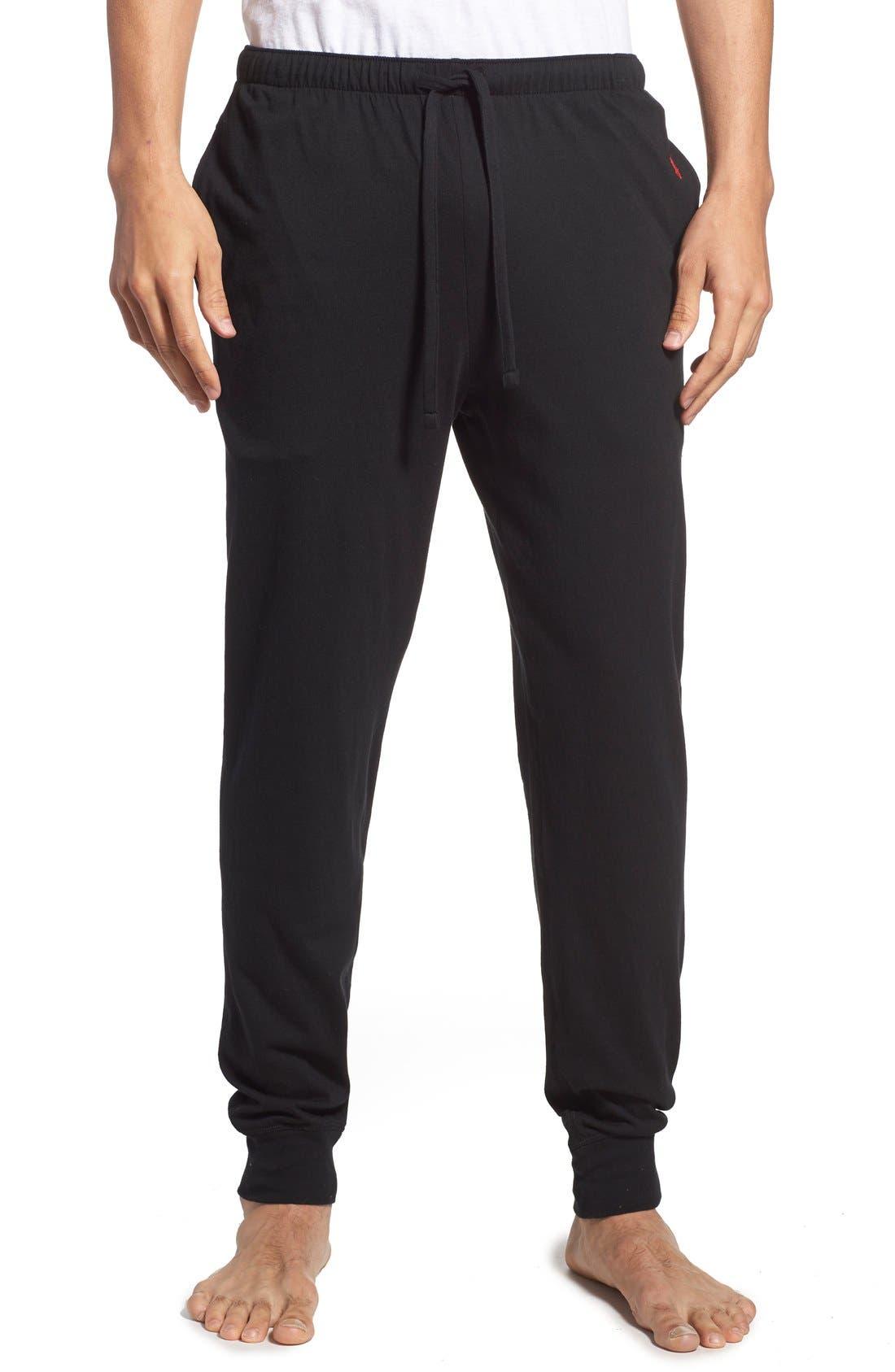 POLO RALPH LAUREN, Relaxed Fit Cotton Knit Lounge Jogger Pants, Main thumbnail 1, color, BLACK
