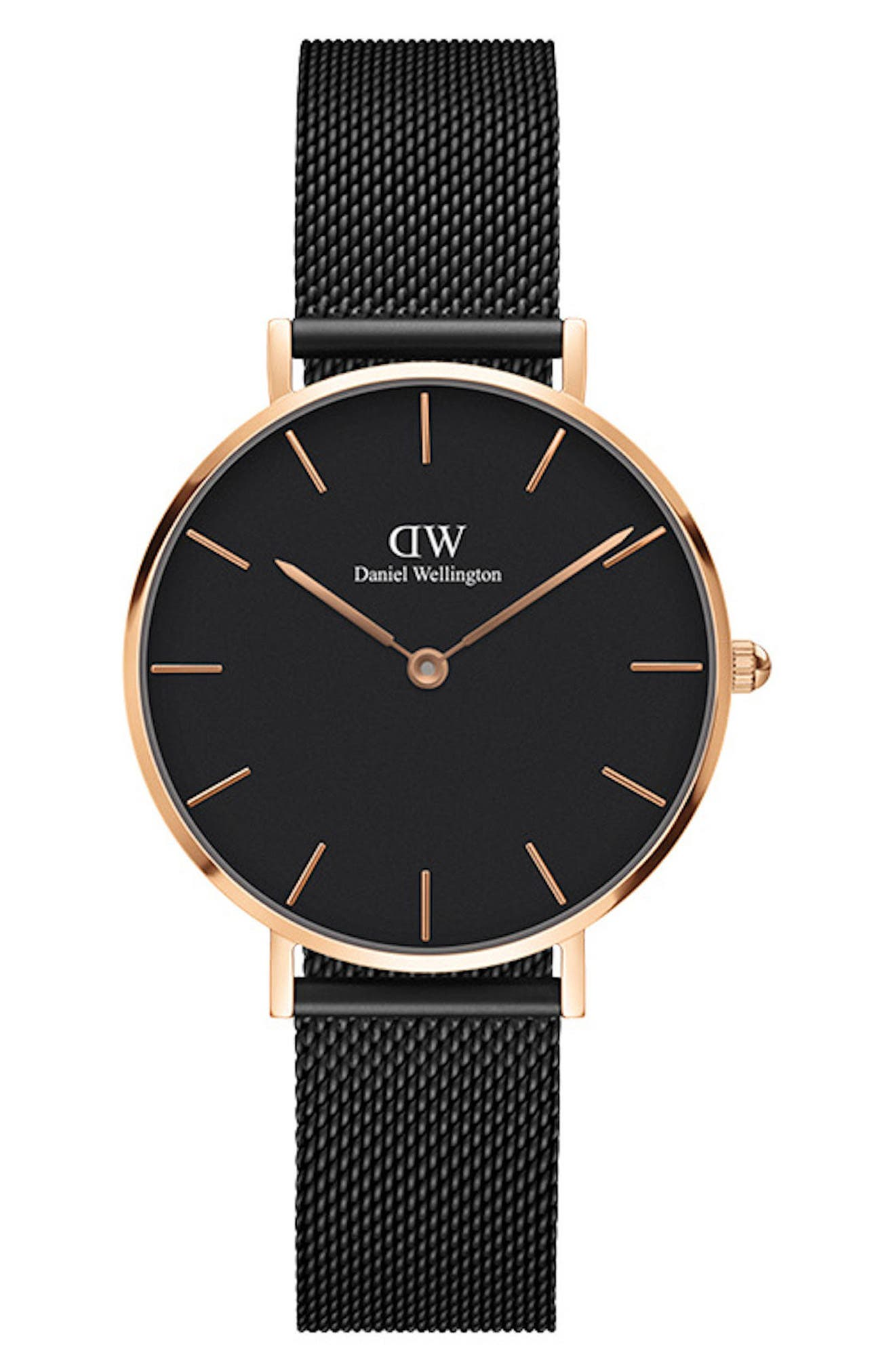 DANIEL WELLINGTON Classic Petite Mesh Strap Watch, 32mm, Main, color, BLACK / ROSE GOLD