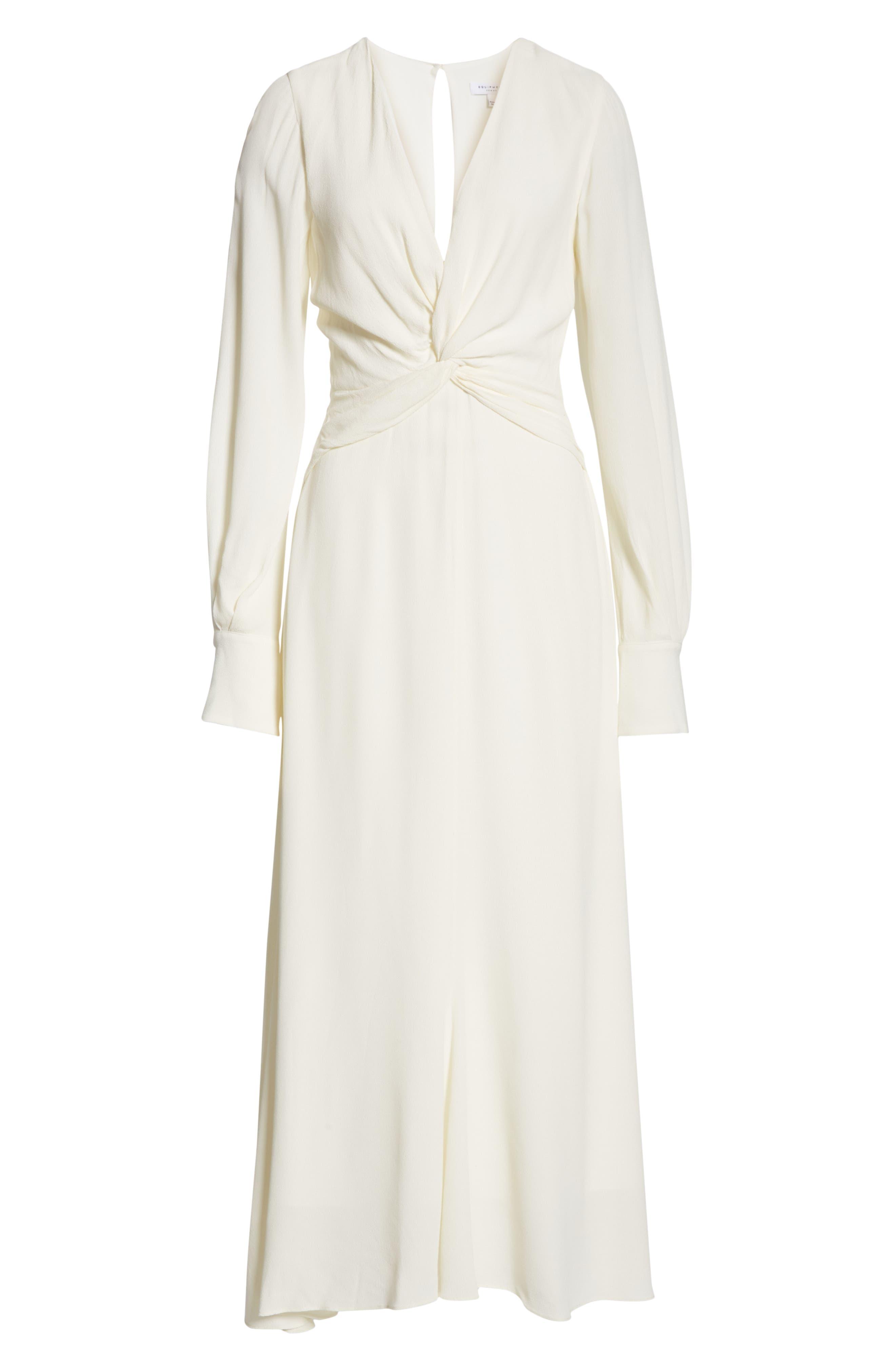 EQUIPMENT, Faun Twist Front Dress, Alternate thumbnail 6, color, NATURE WHITE
