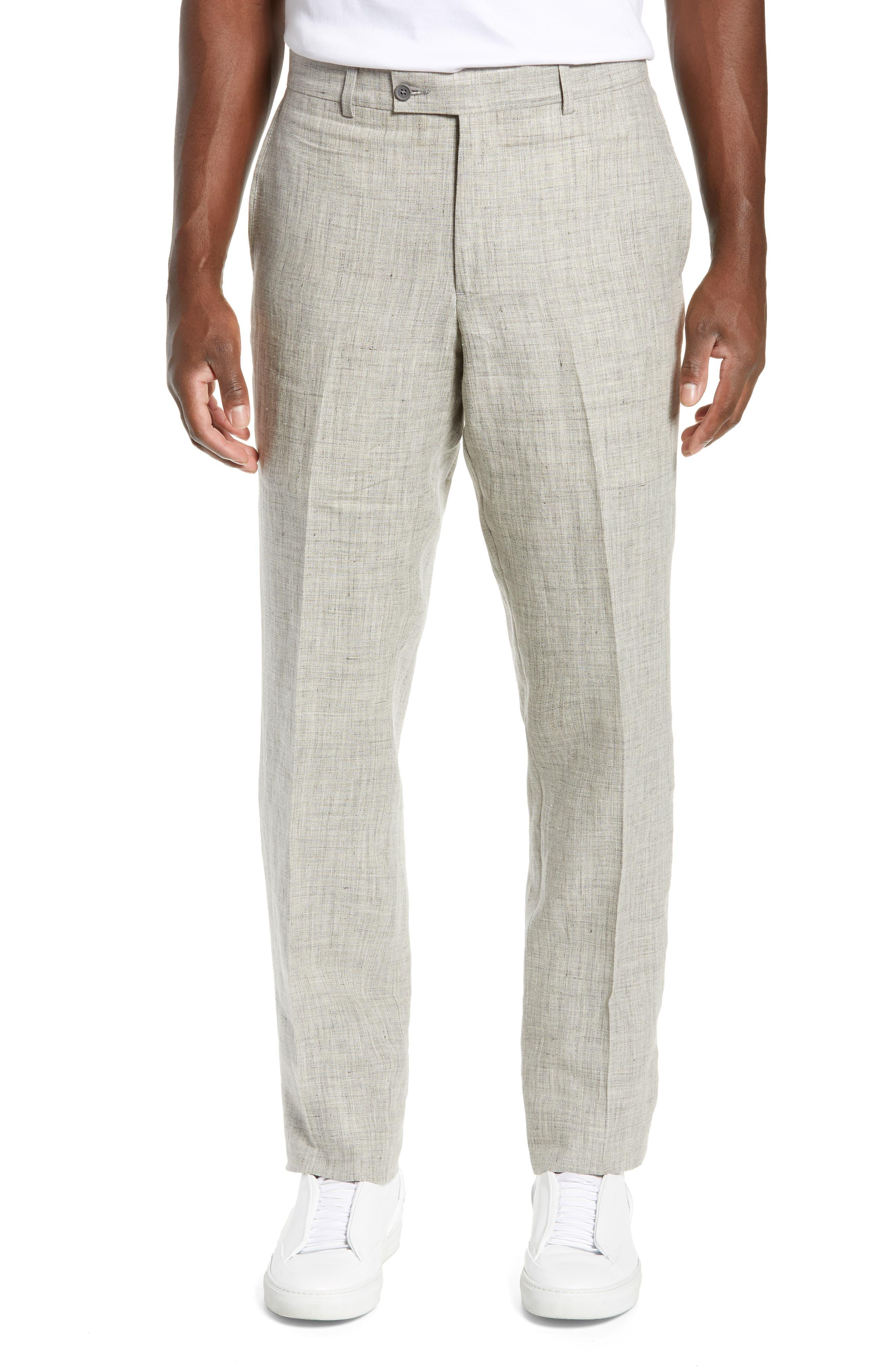NORDSTROM MEN'S SHOP, Flat Front Mélange Linen Trousers, Main thumbnail 1, color, LIGHT GREY