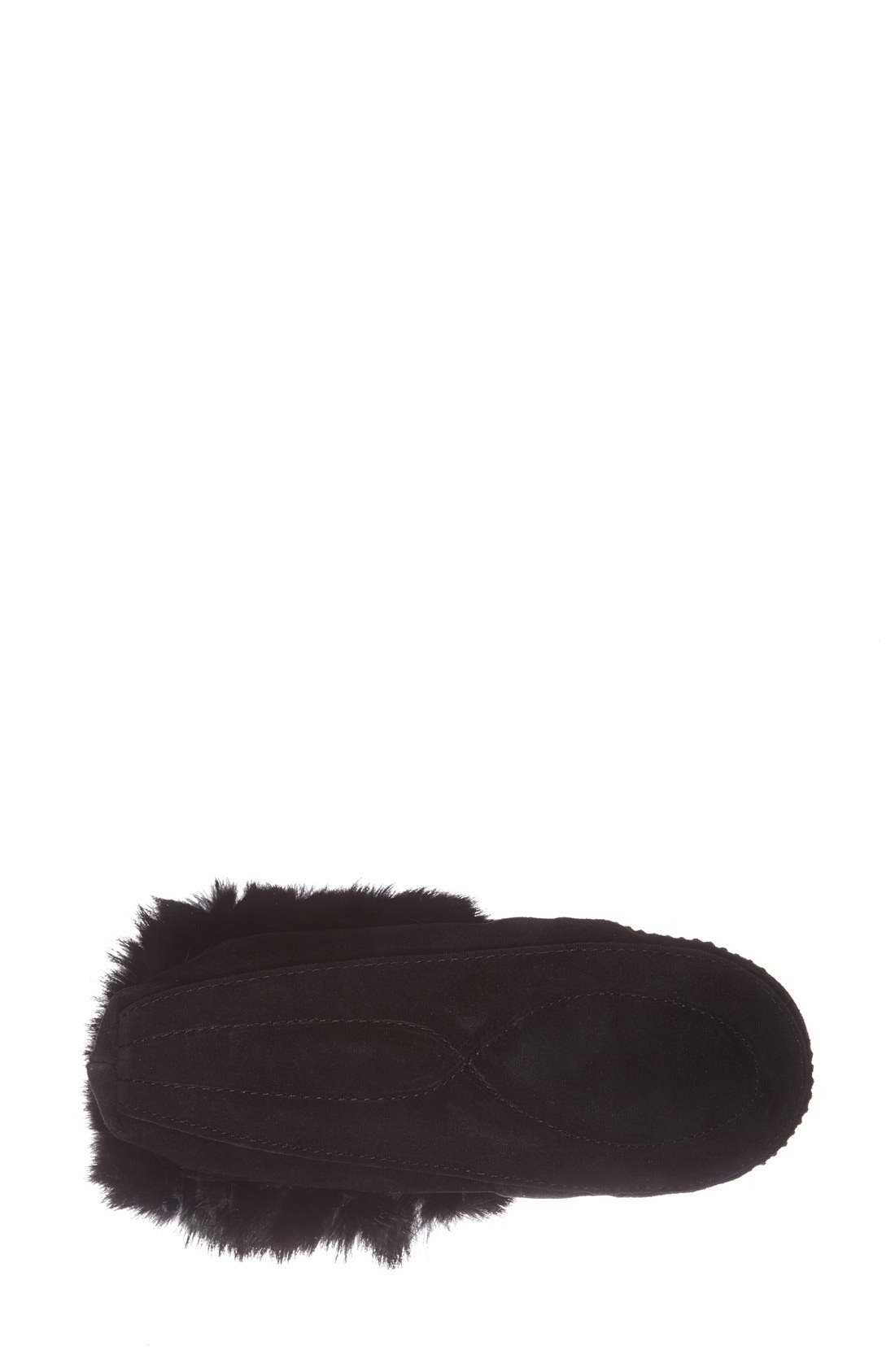 MANITOBAH MUKLUKS, 'Kanada' Genuine Rabbit Fur & Suede Moccasin Slipper, Alternate thumbnail 3, color, 001