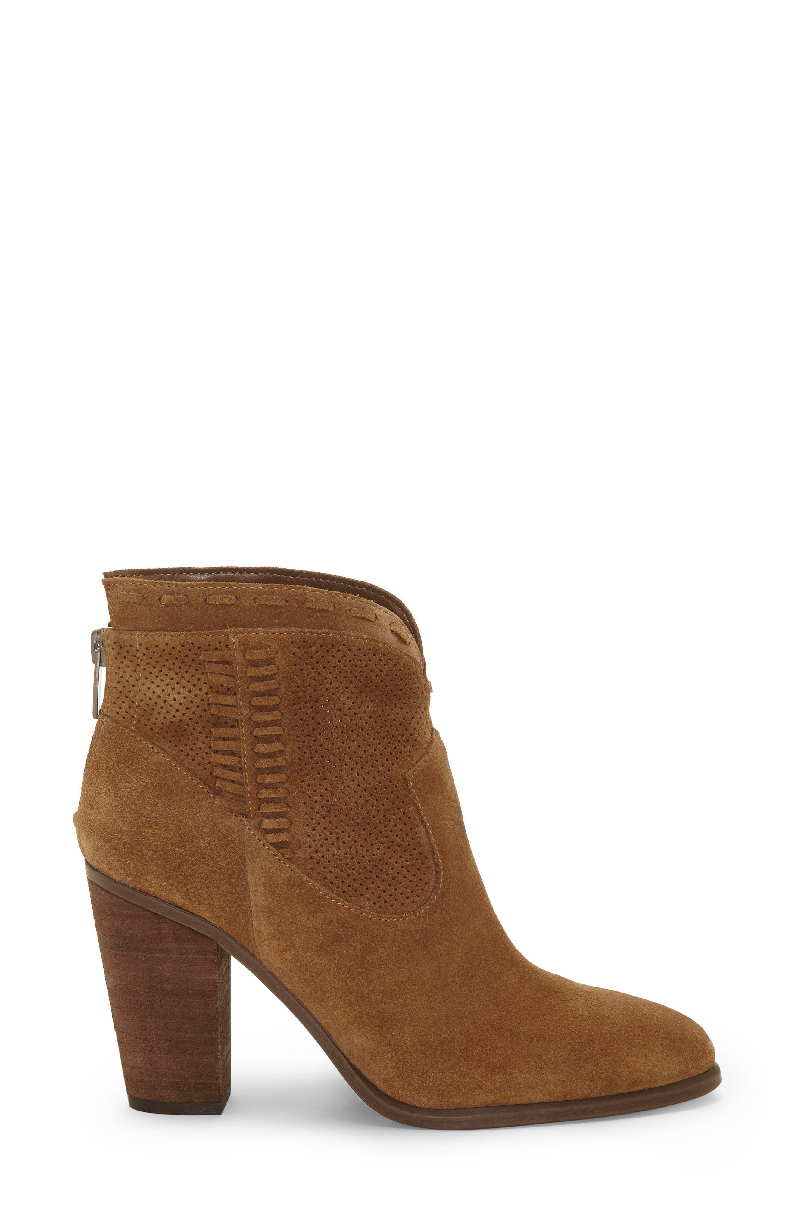 VINCE CAMUTO, Fretzia Perforated Boot, Alternate thumbnail 3, color, TREE HOUSE NUBUCK