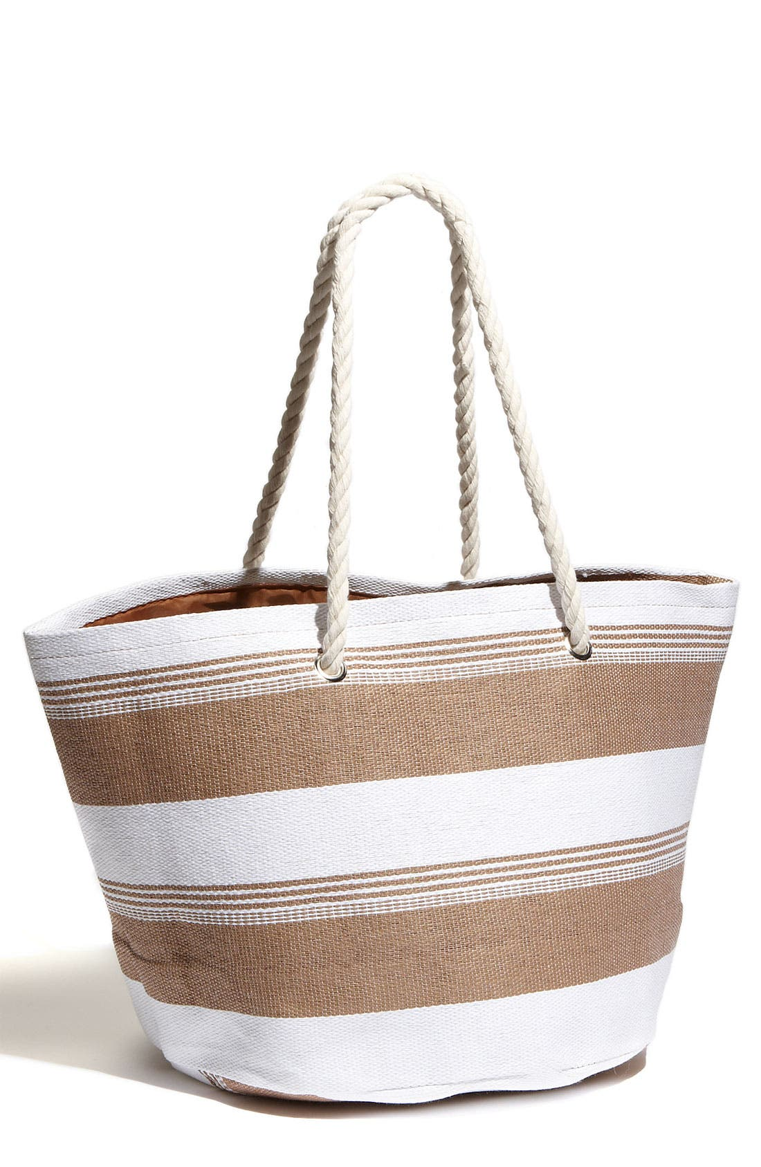 CESCA, Rope Handle Woven Stripe Tote, Main thumbnail 1, color, 242