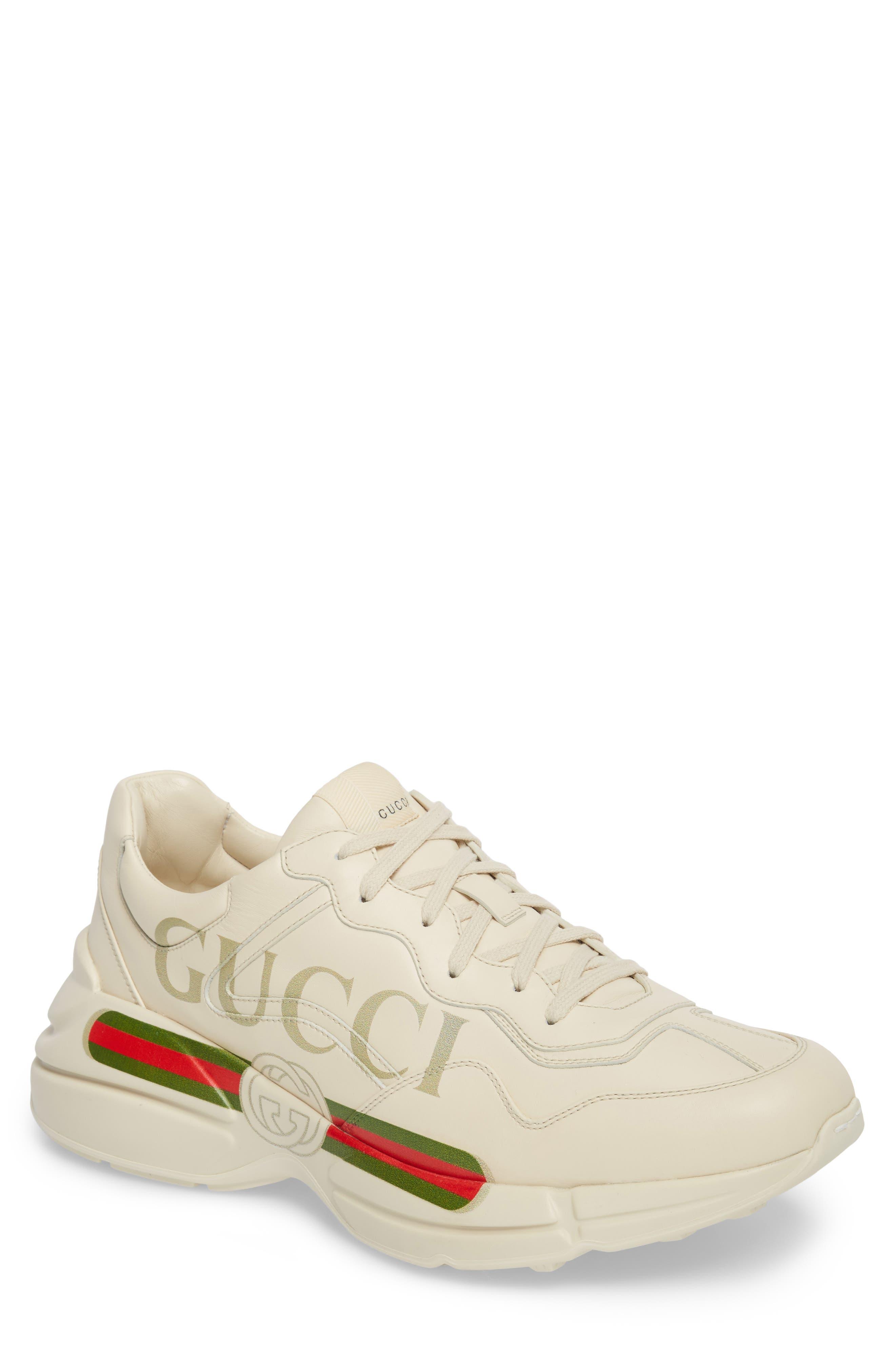 GUCCI, Logo Leather Sneaker, Main thumbnail 1, color, WHITE PRINT